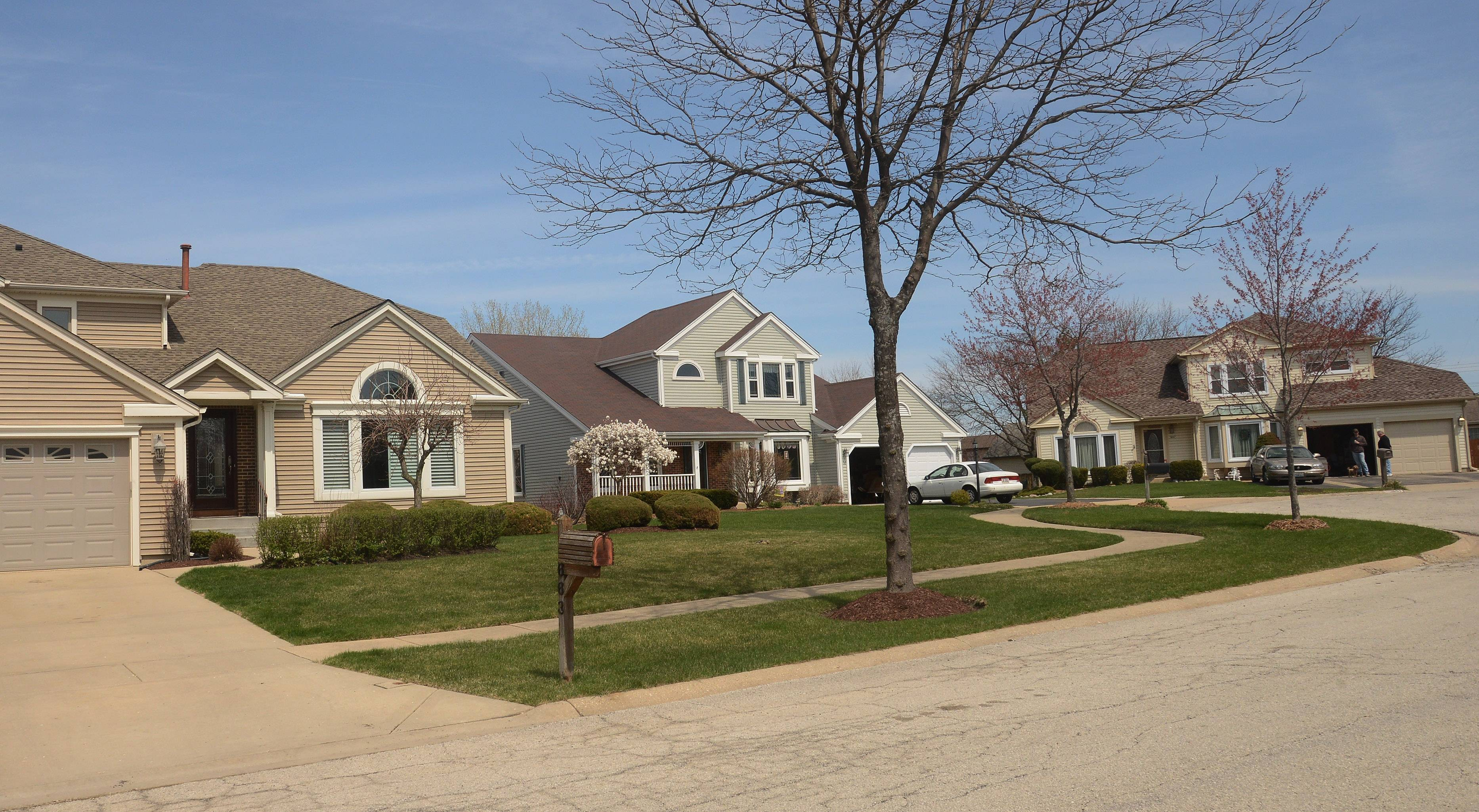 Homes in Elk Grove Village's Stockbridge neighborhood are among the newer ones in town. These houses on Salem Court have New England flavor.