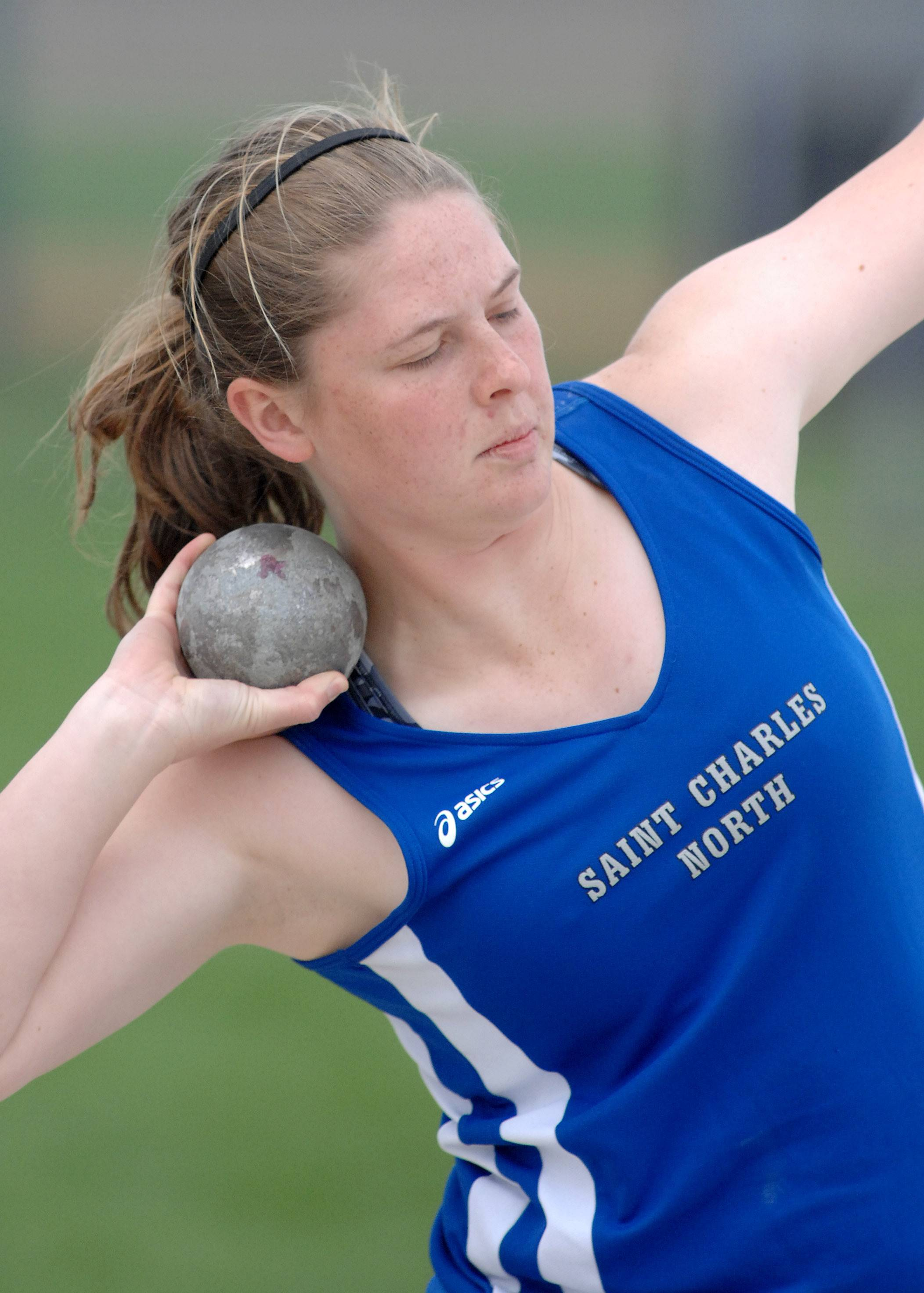 St. Charles North's Kat Stutesman in the shot put finals at Kaneland High School in Maple Park on Friday, May 2.