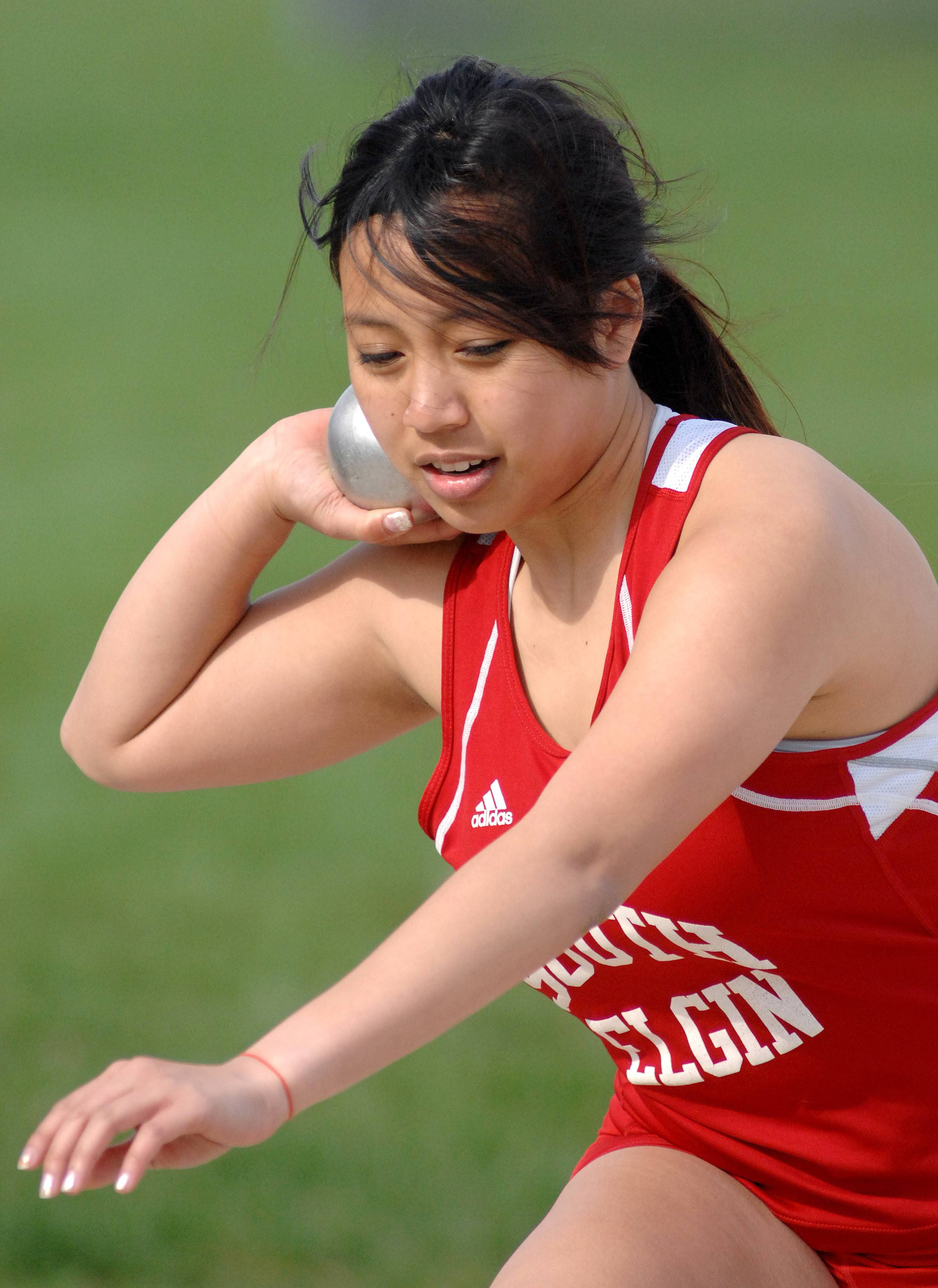 South Elgin's Kaylin Ramangkoun in the shot-put finals at Kaneland High School in Maple Park on Friday, May 2.