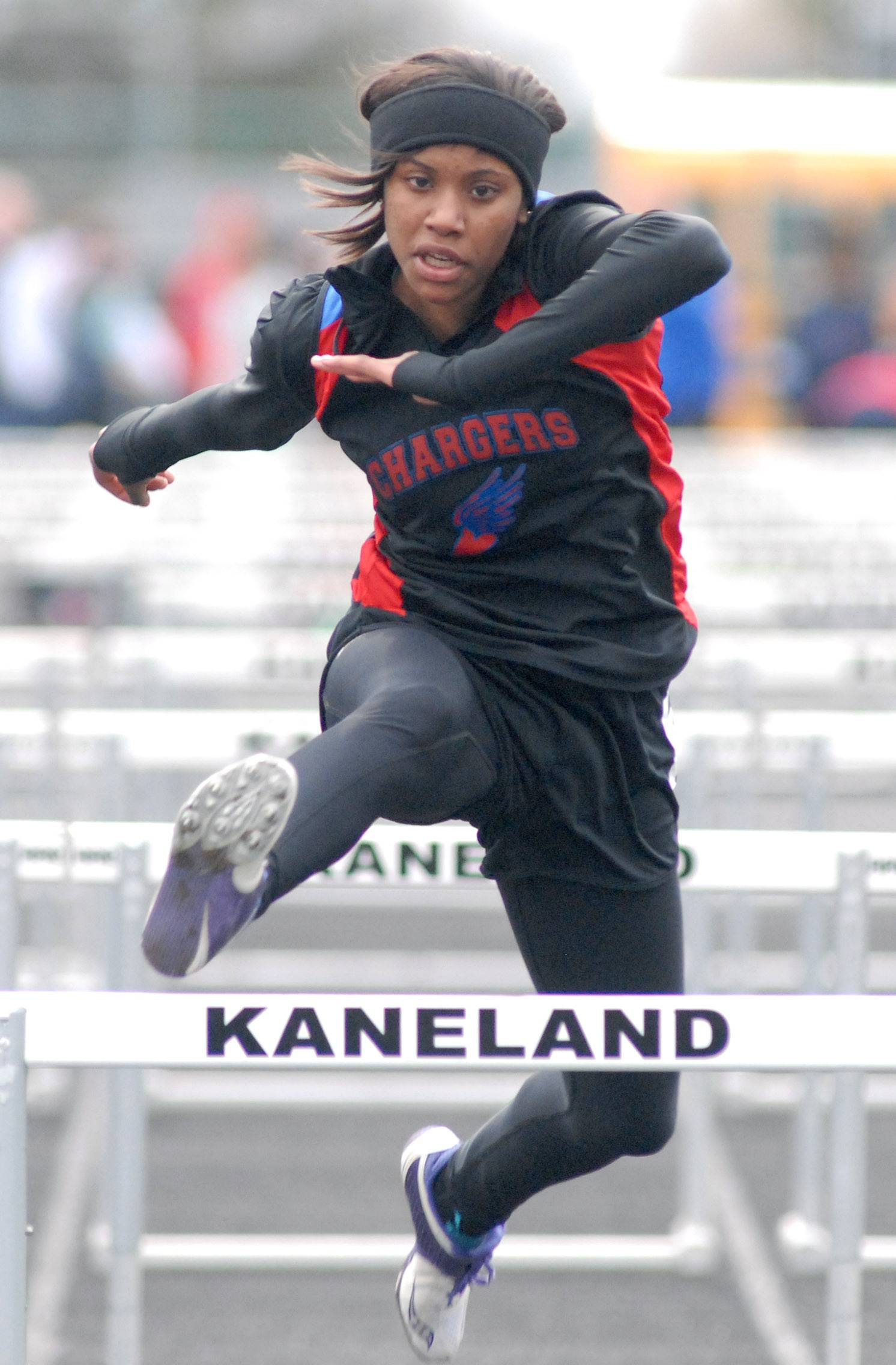 Dundee-Crown's Kayla Lawrence in the 100-yard hurdles prelims at Kaneland High School in Maple Park on Friday, May 2.