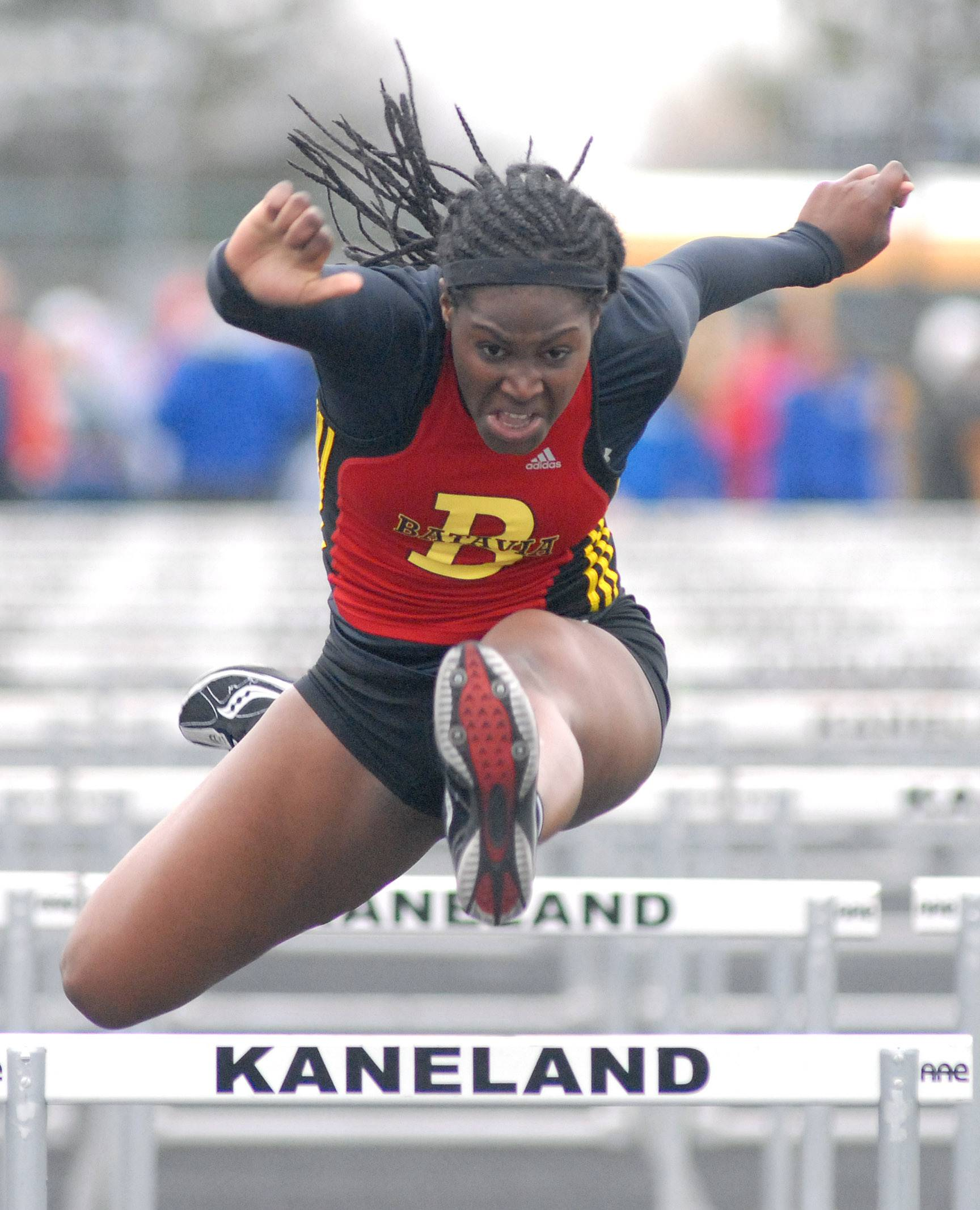 Batavia's Leah Narup in the 100-yard hurdles prelims at Kaneland High School in Maple Park on Friday, May 2.