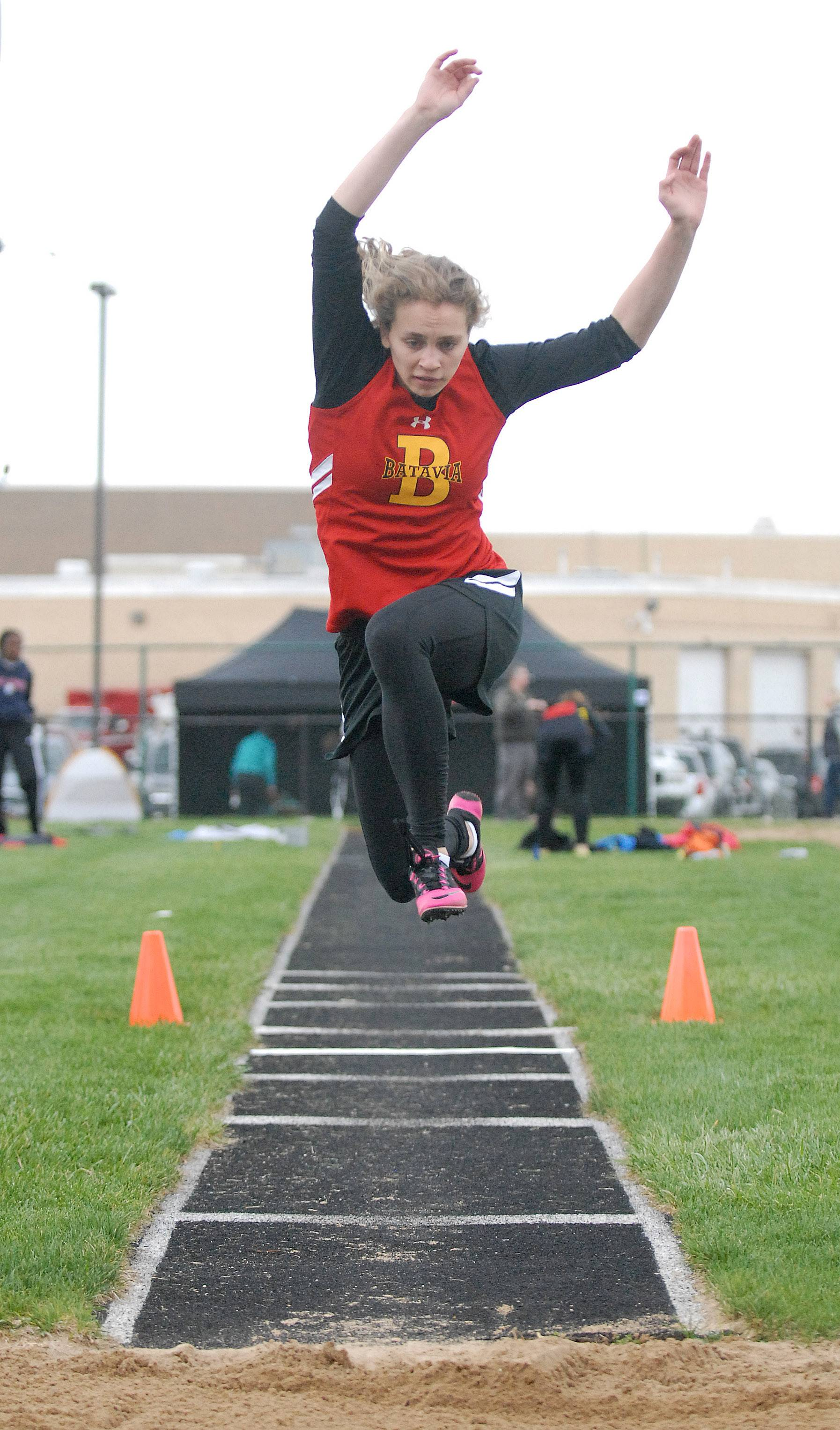 Batavia's Darby Edmonson competes in the triple jump Friday at Kaneland.