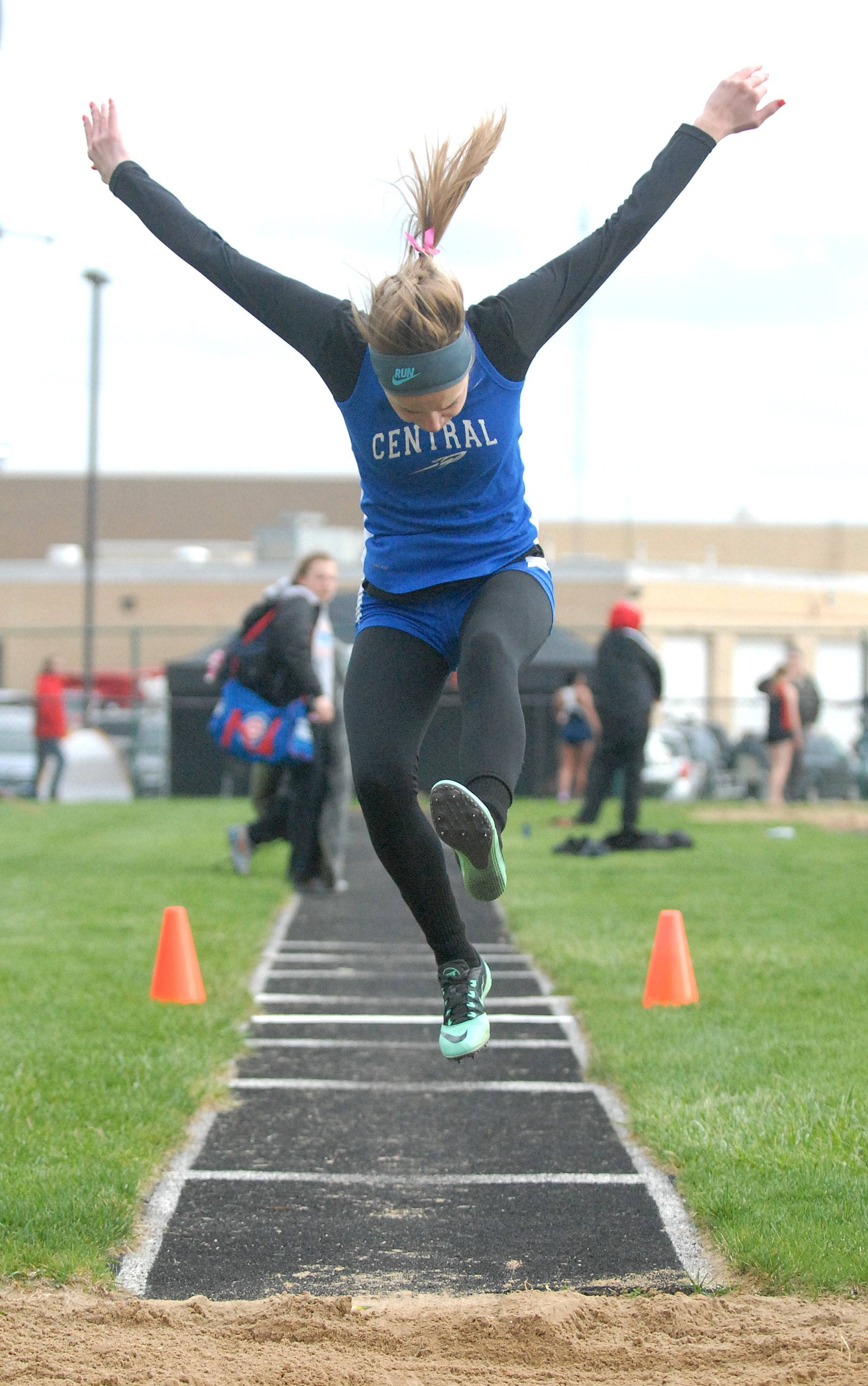 Burlington Central's Karli Chmelik in the triple jump finals at Kaneland High School in Maple Park on Friday, May 2.