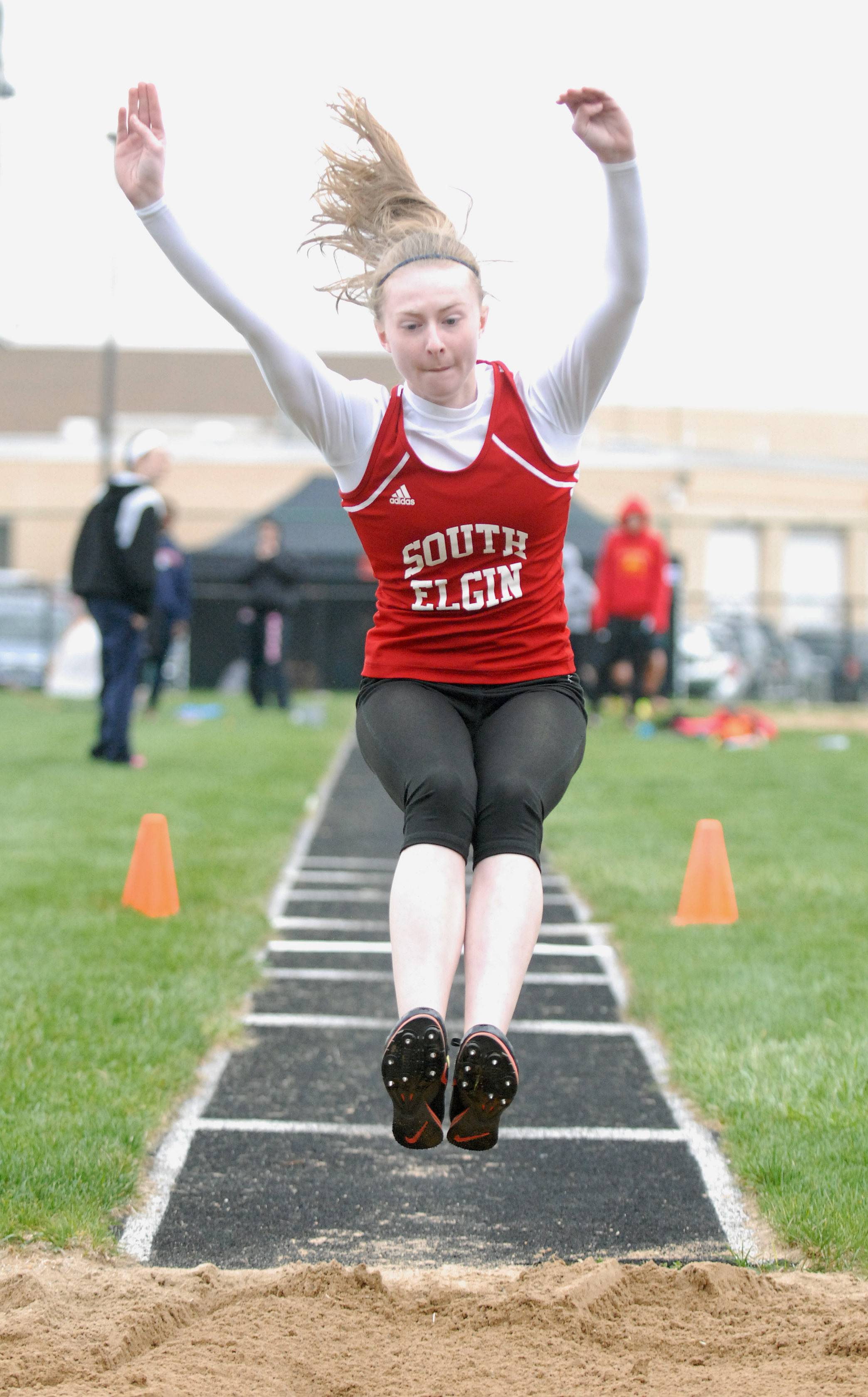 South Elgin's Emalee Smith in the triple jump finals at Kaneland High School in Maple Park on Friday, May 2.