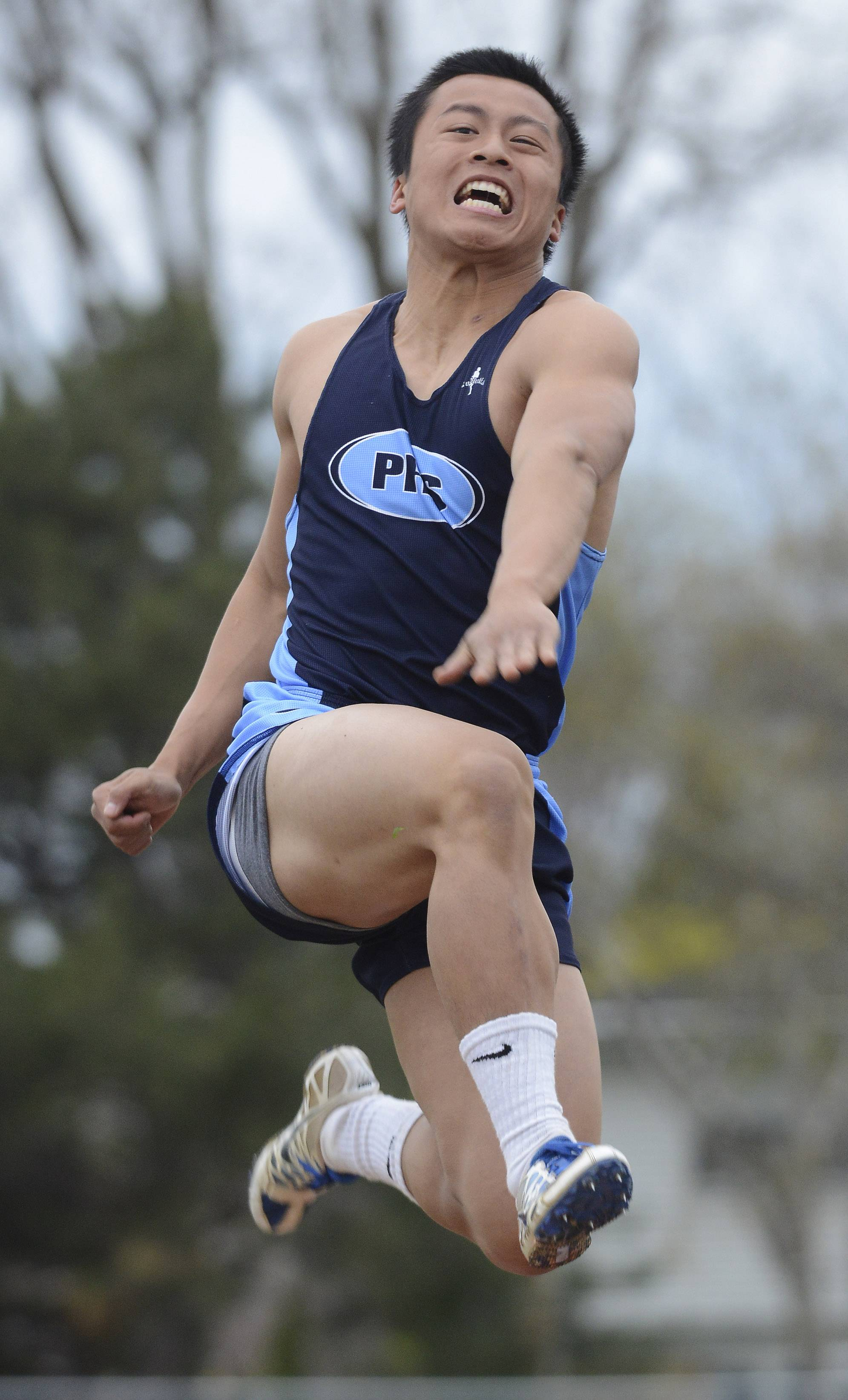Prospect's Vinny Lai competes in the long jump during the Wanner Invitational.