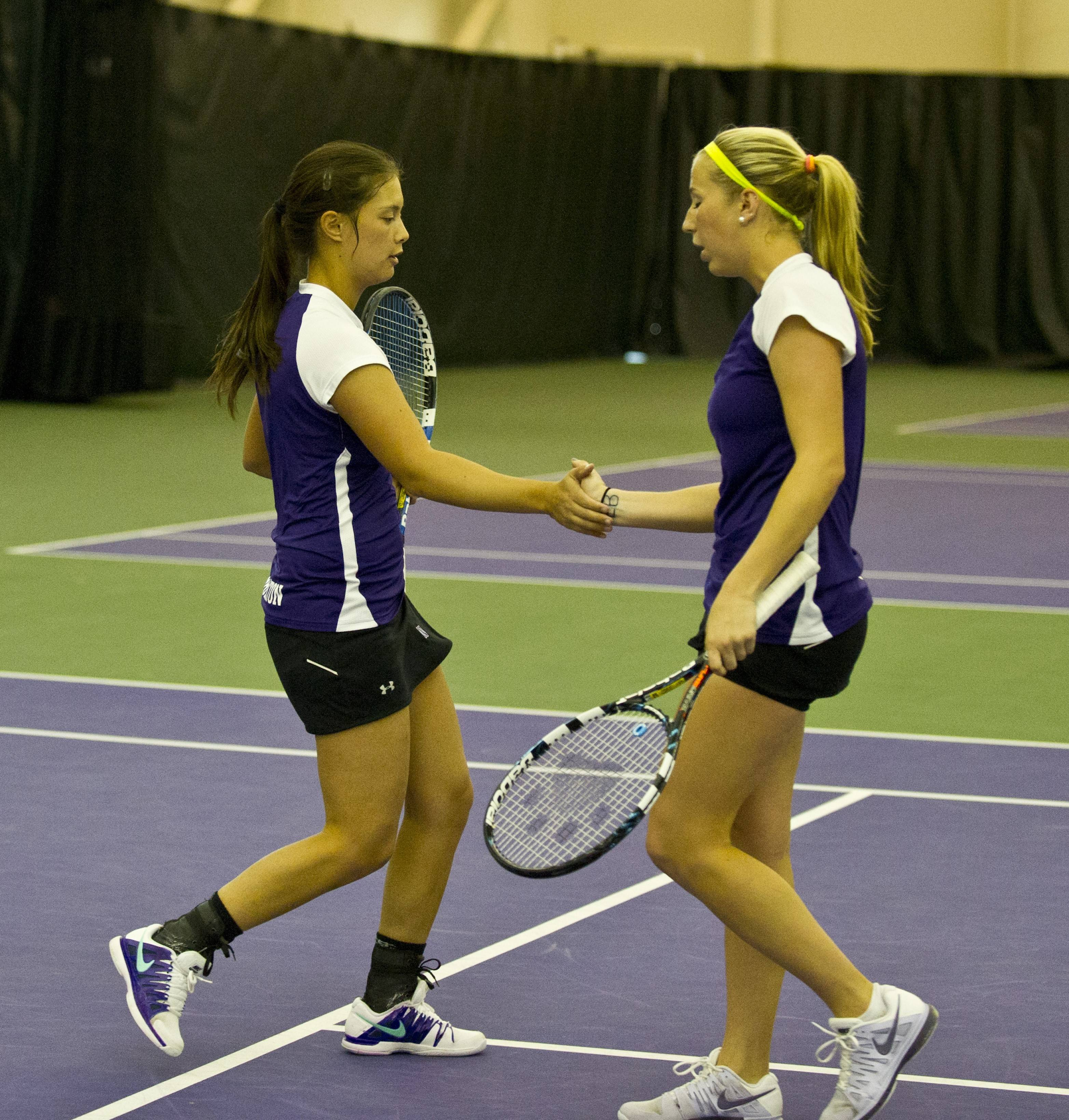 Northwestern University women's tennis team features two former suburban stars, Nida Hamilton of Hinsdale Central (left) and Maddie Lipp of Lake Forest.