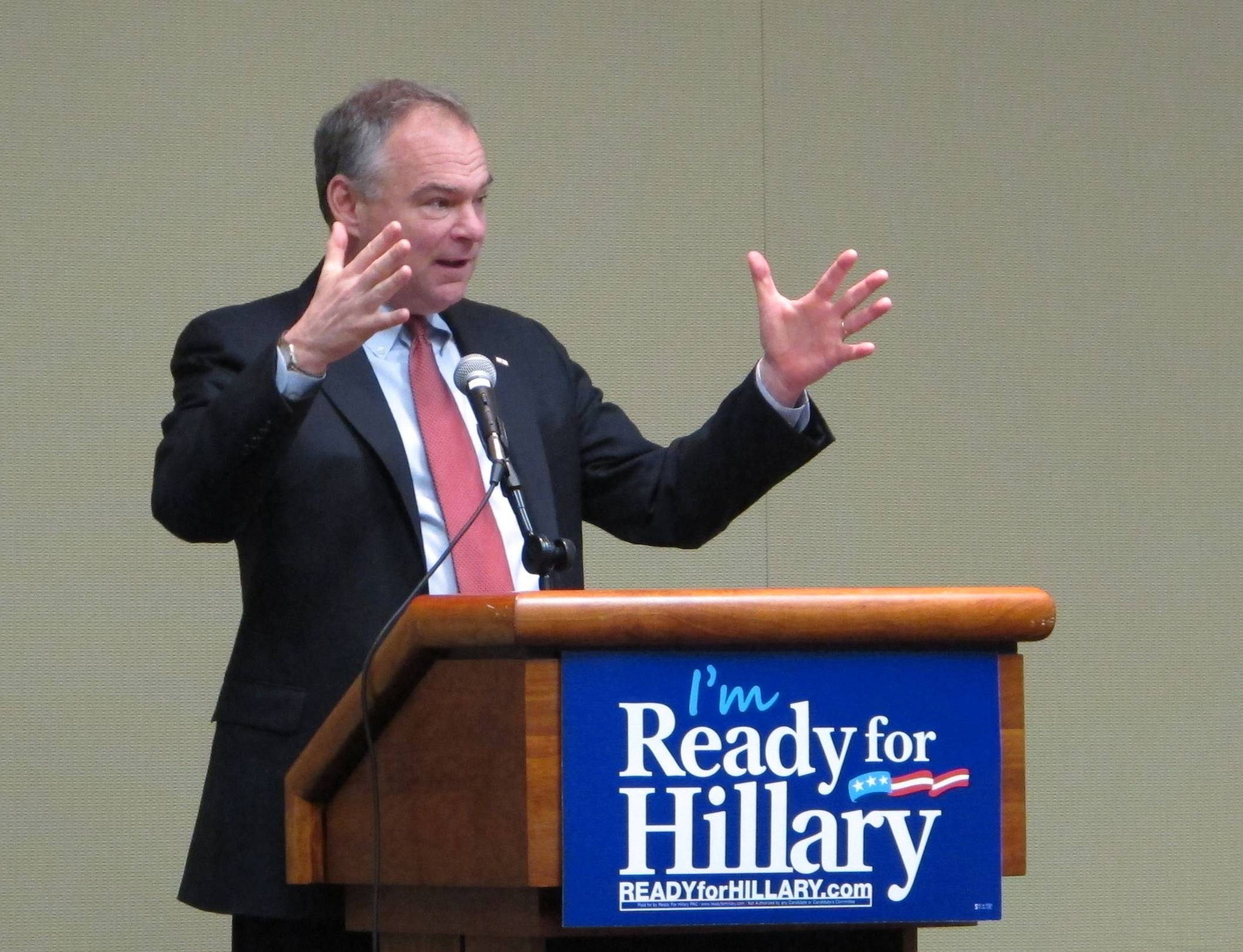 U.S. Sen. Tim Kaine gives a speech Saturday supporting former Secretary of State Hillary Clinton if she decides to run for president.