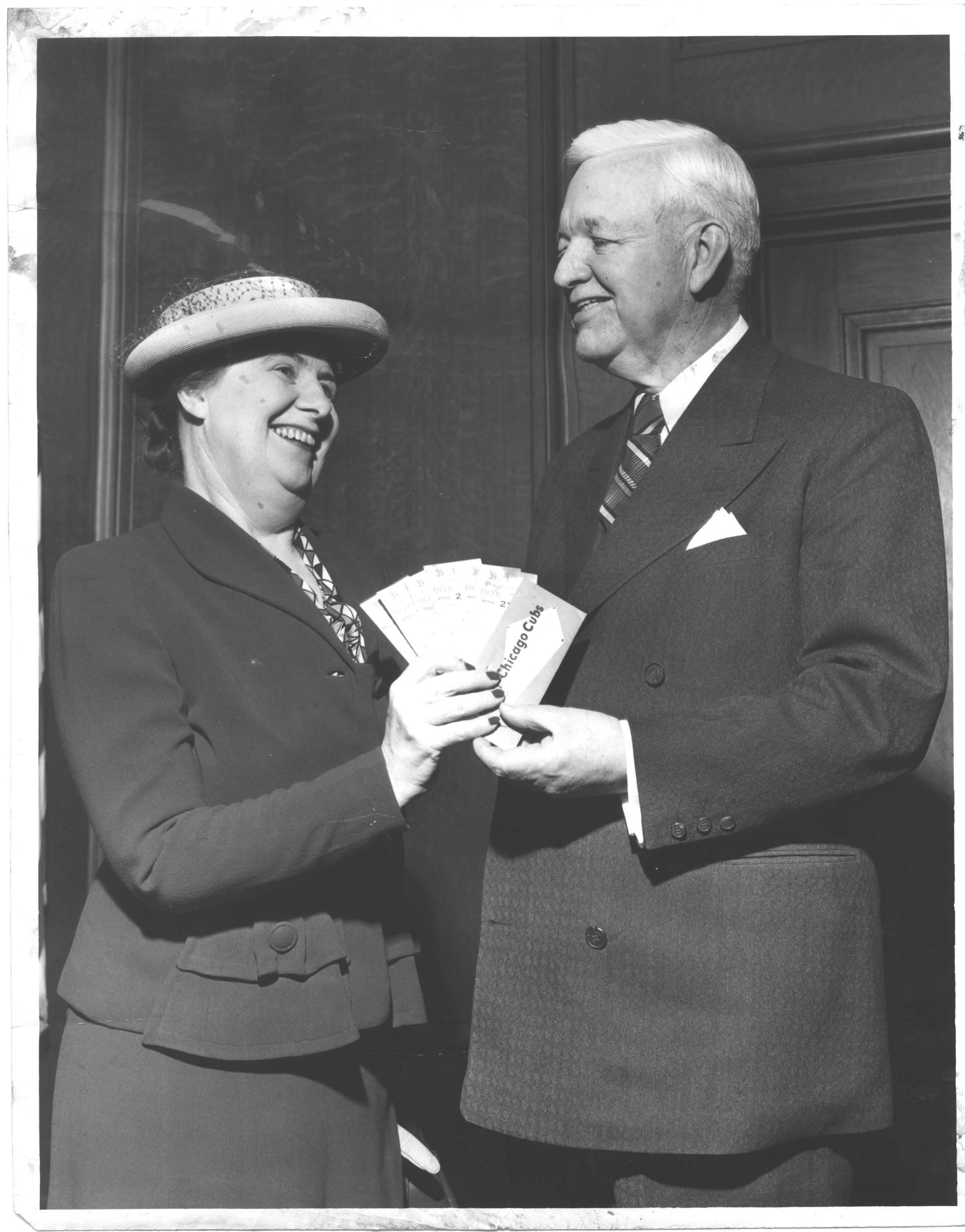 Margaret Donahue is pictured here with Chicago Mayor Martin H. Kennelly in 1950. The Huntley native was a pioneer in the Chicago Cubs organization and is being honored at today's game against the St. Louis Cardinals as part of the 100 years at Wrigley Field celebration.