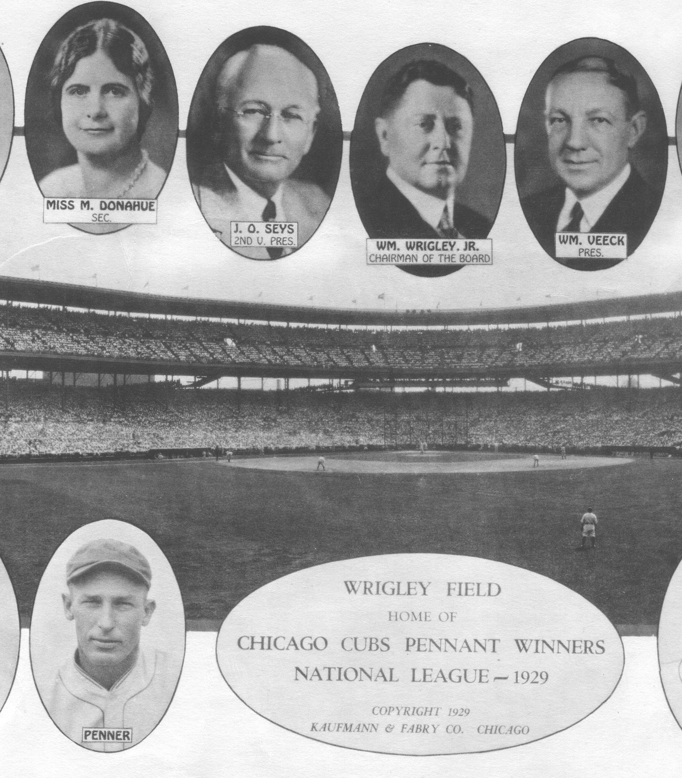 The late Margaret Donahue, left, featured in a 1929 Chicago Cubs poster. The Huntley native was a pioneer in the Chicago Cubs organization and is being honored at Saturday's game against the St. Louis Cardinals as part of the 100 years at Wrigley Field celebration.