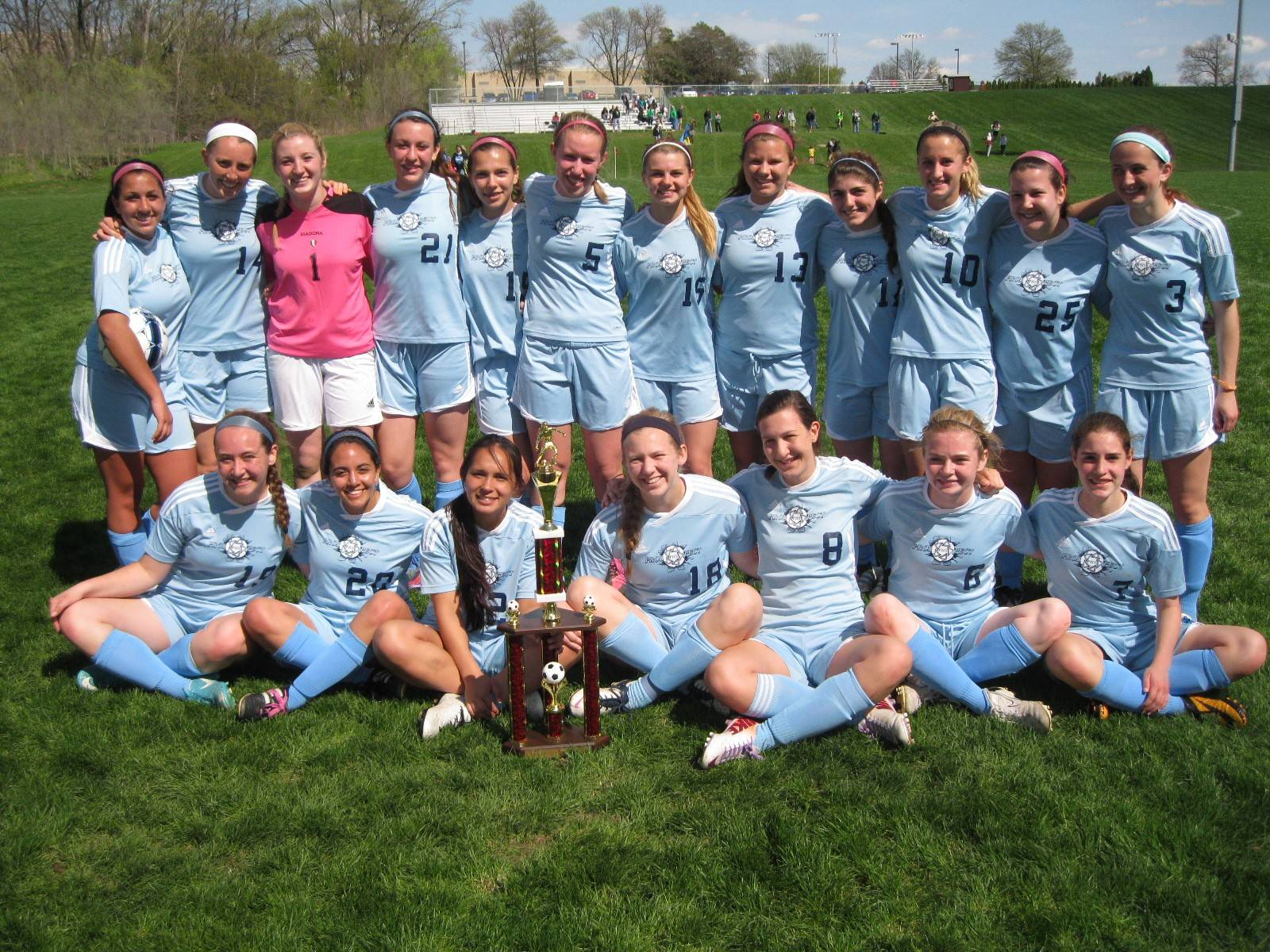 Prospect's girls soccer team, with the State Line Challenge trophy it secured Saturday in Moline.