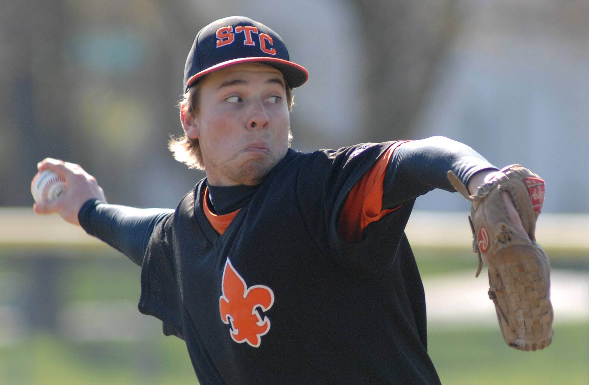 St. Charles East pitcher Mike Boehmer pitches to Geneva on Saturday, May 3.