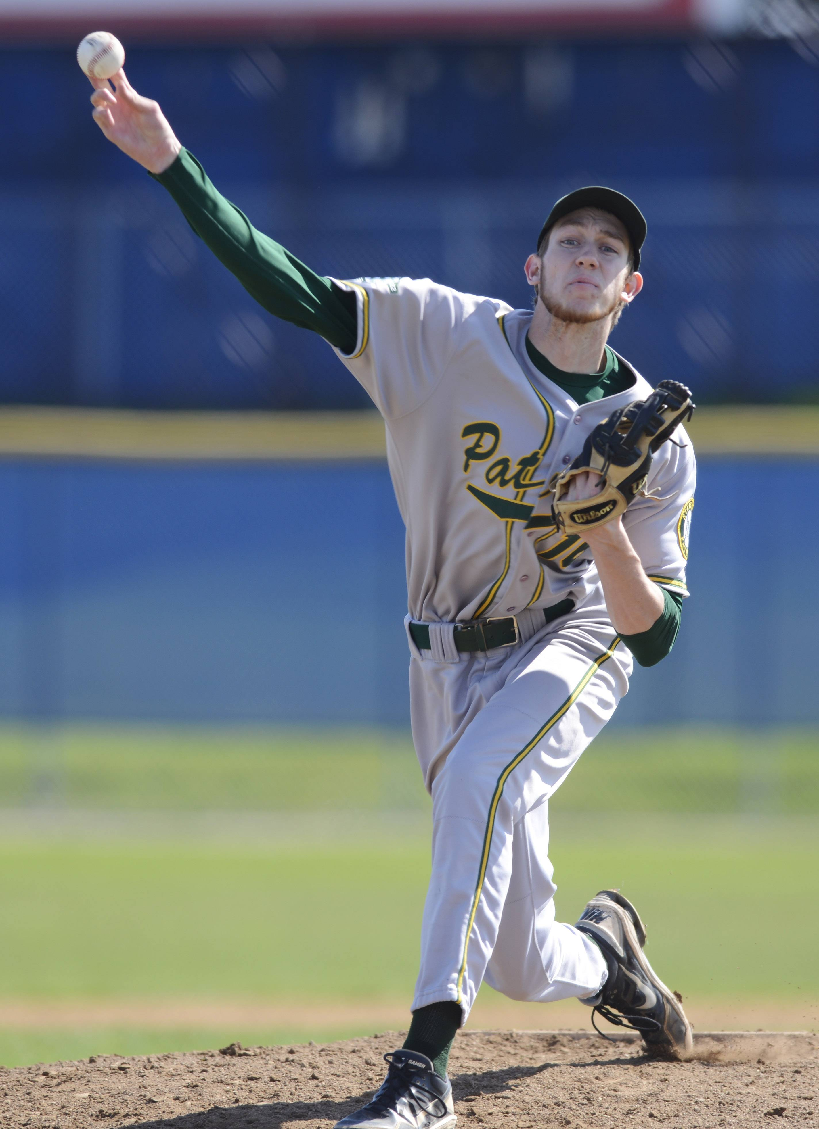 Stevenson pitcher LJ Austin makes his delivery during Saturday's game at Lake Zurich.
