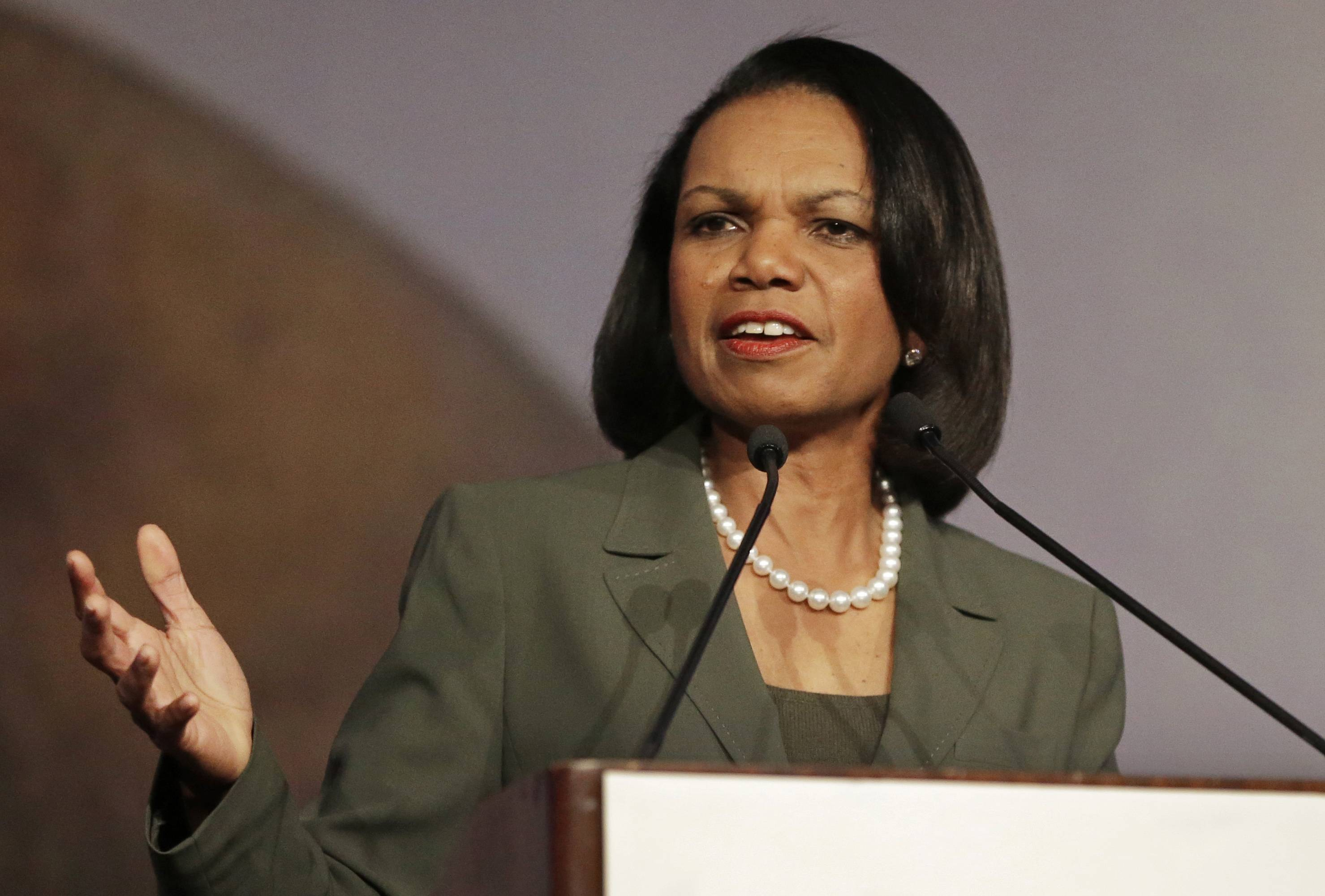 Secretary of State Condoleezza Rice speaks at the California Republican Party 2014 Spring Convention in Burlingame, Calif. Rice has decided against delivering the commencement address at Rutgers University following protests by some faculty and students over her role in the Iraq War.