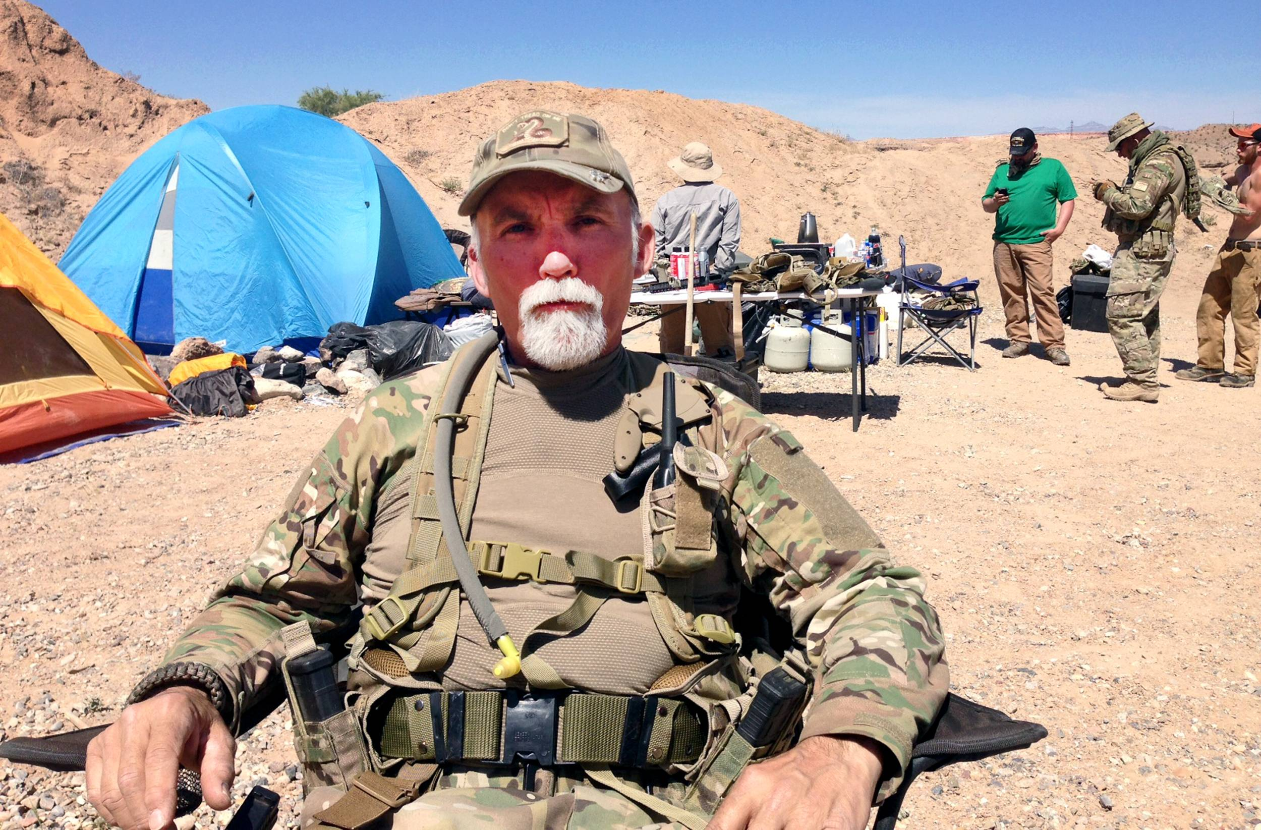 Jerry DeLemus, of Rochester, N.H., talks on April 16 about heading a group of self-described militia members who have been camping on rancher Cliven Bundy's ranch near Bunkerville, Nev.