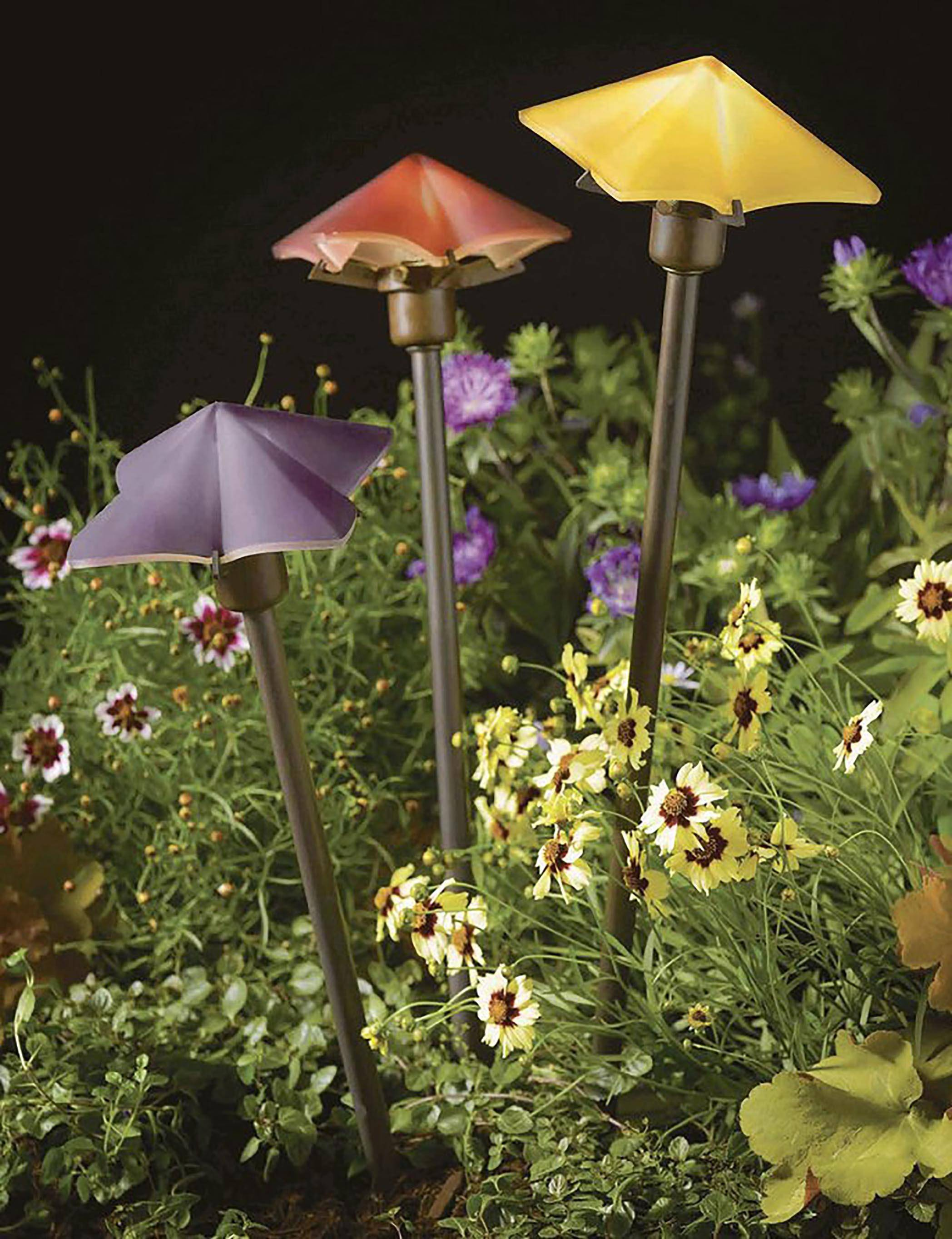 Some outdoor lighting choices can provide a pop of color whether or not the light is on.