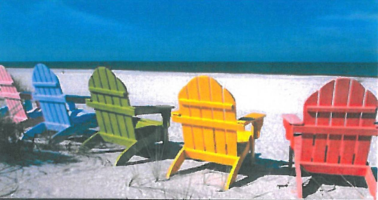 Adirondack chairs are comfortable for lounging outdoors.