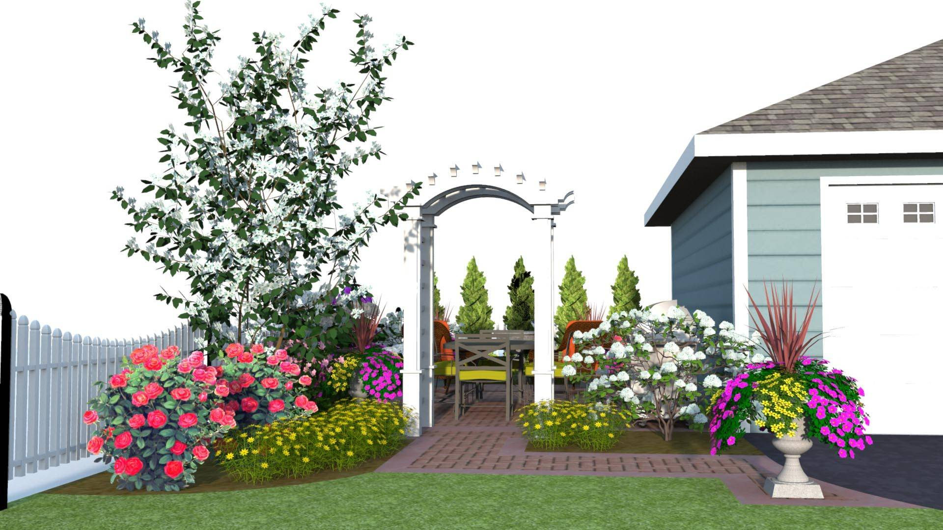 RYCO Landscaping and RYCO Design Group suggest a paver area for grilling and plantings to screen the view, along with garden accents and an arbor for this area formerly shaded by an ash tree..