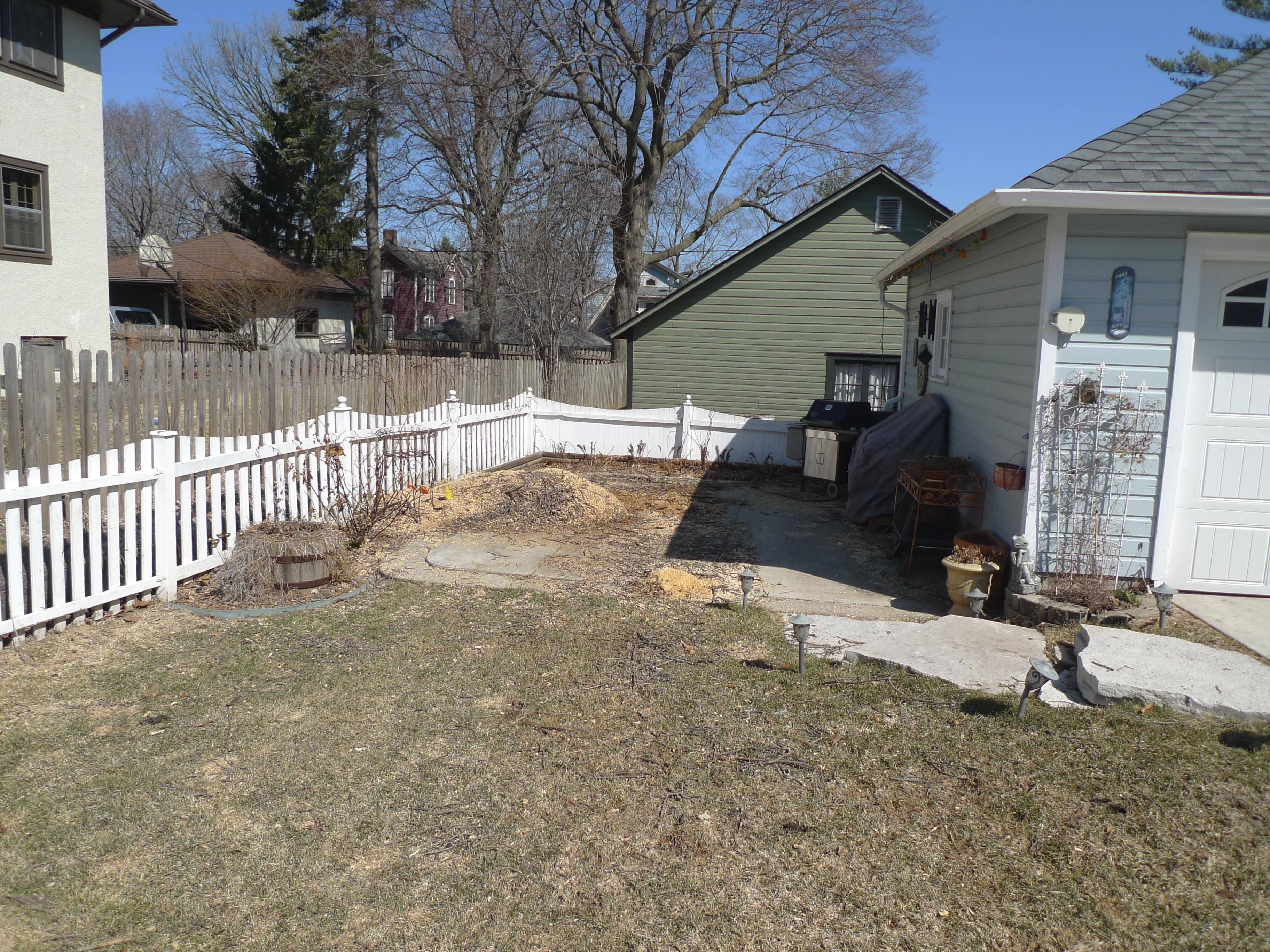 BEFORE: The side yard of a quaint Victorian home in Elgin needs help after losing a tree to the emerald ash borer.
