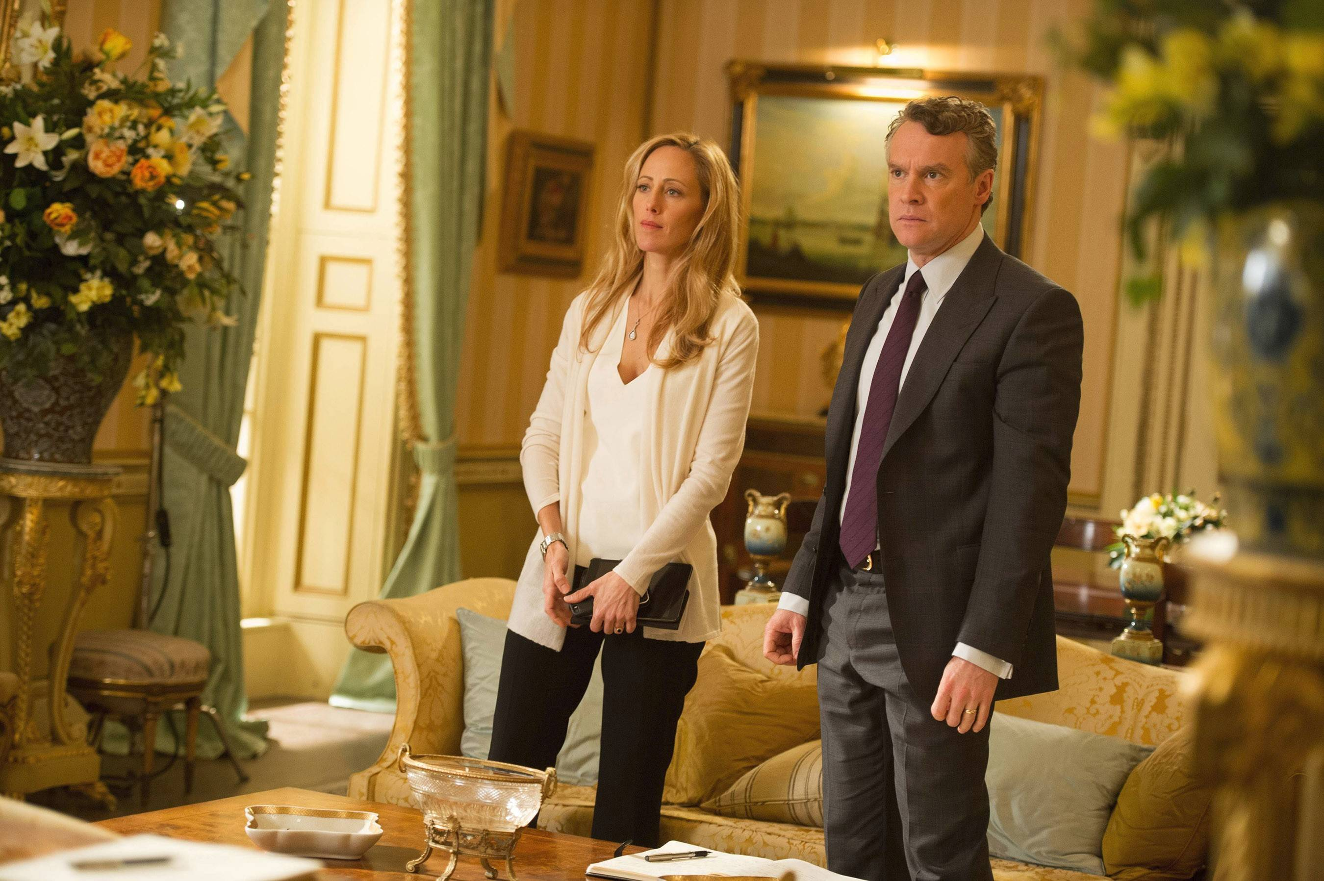 "Audrey (Kim Raver) and her husband, Mark (Tate Donovan), work together in London in the two-hour season premiere of ""24: Live Another Day,"" airing Monday on Fox."