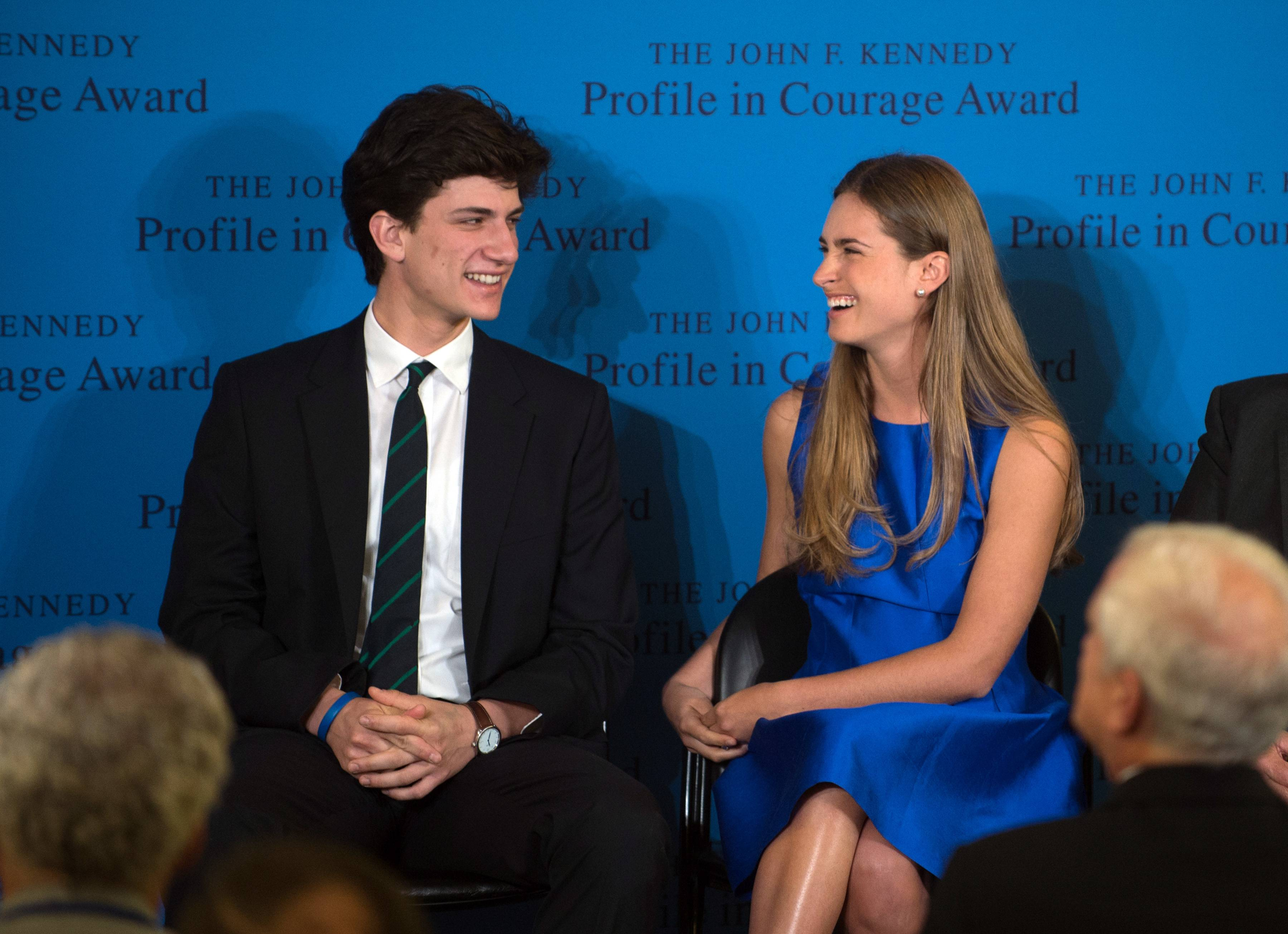 Lauren Bush Lauren, right, granddaughter of former President George H.W. Bush, laughs with Jack Schlossberg, grandson of former President John F. Kennedy, before accepting the 2014 John F. Kennedy Profile in Courage Award on behalf of her grandfather during a ceremony at the John F. Kennedy Library and Museum Sunday in Boston.