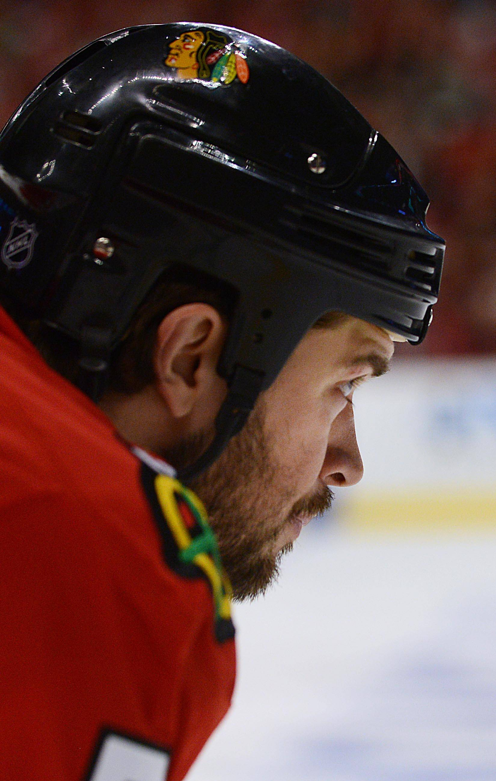 Chicago Blackhawks defenseman Brent Seabrook prepares for play during a faceoff against the Minnesota Wild.
