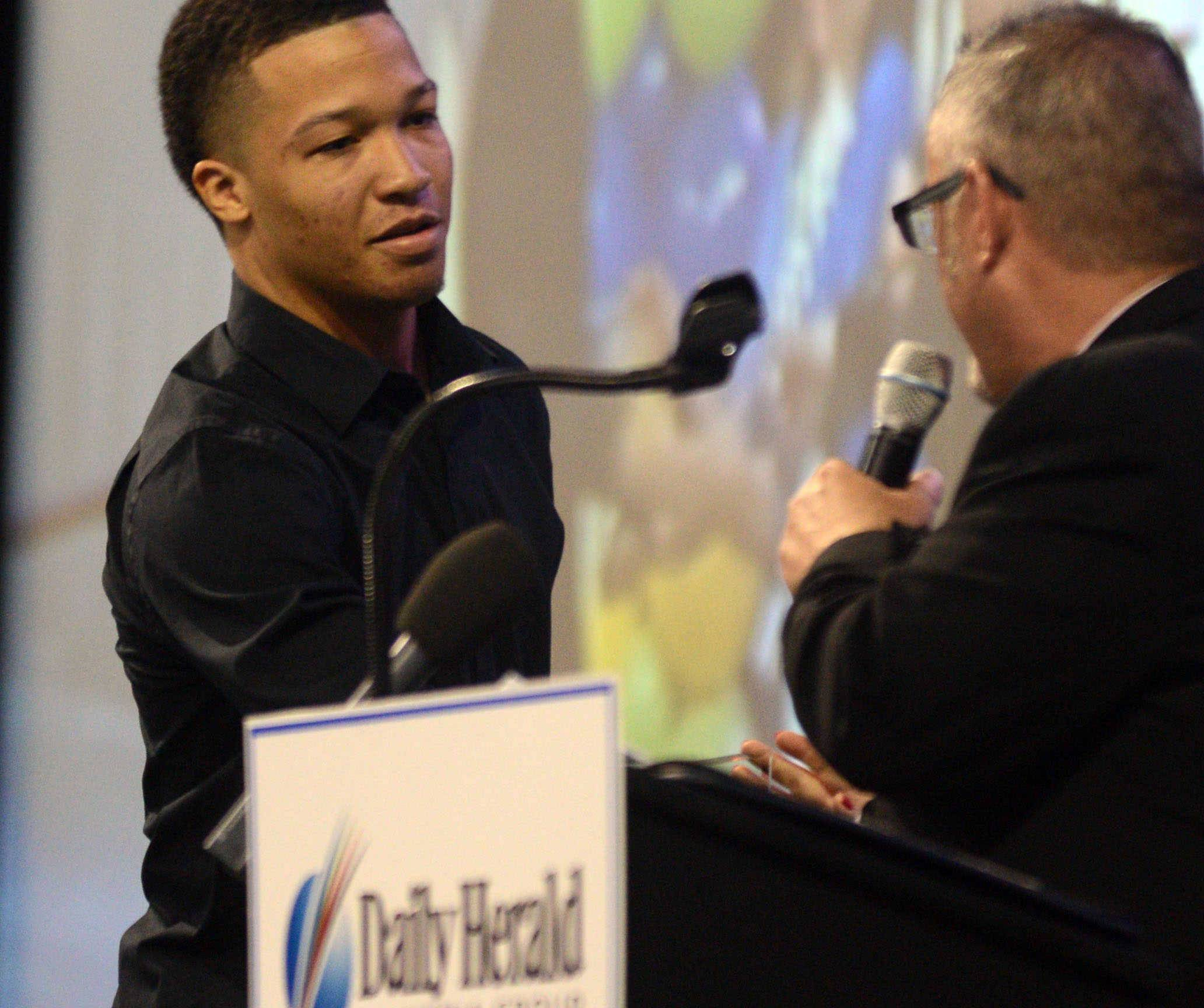 Stevenson basketball player Jalen Brunson receives a Dazzling Moment Award during the Daily Herald Prep Sports Excellence event at the Sears Centre in Hoffman Estates on Sunday afternoon. Brunson scored 56 points in a state semifinal game.