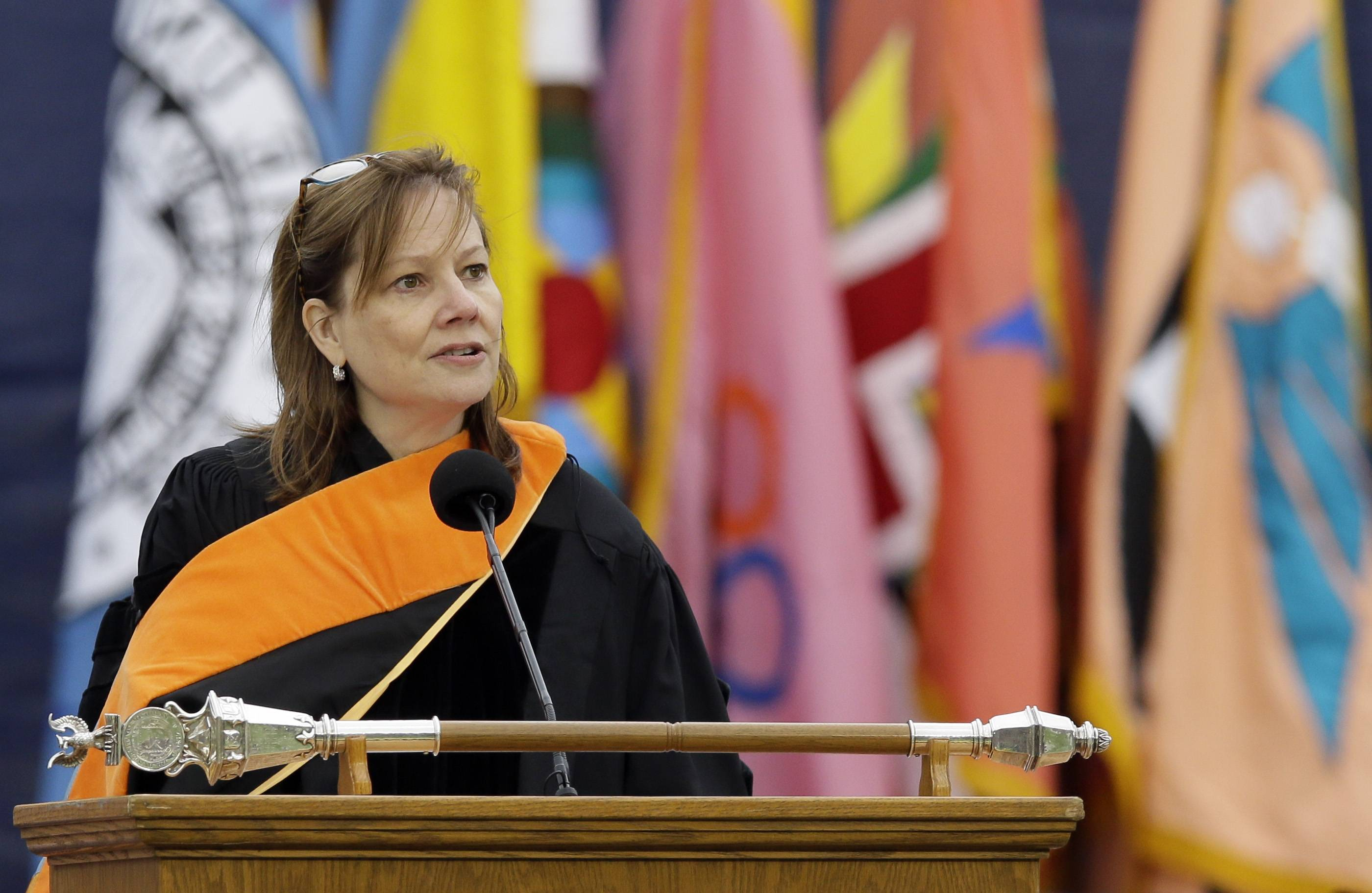 General Motors CEO Mary Barra, addresses the University of Michigan graduates at a commencement ceremony.