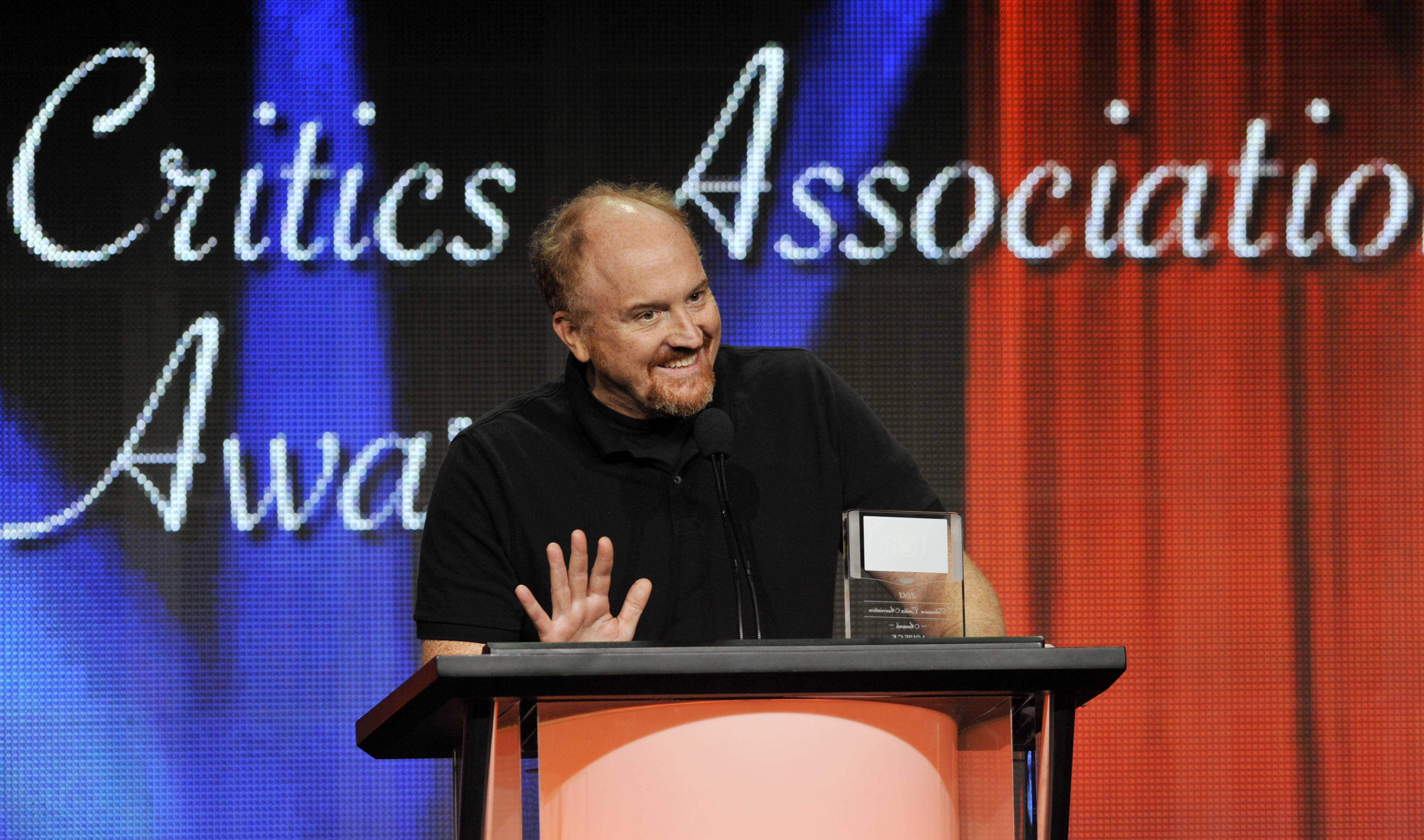 "Louis C.K. picks up the award for Individual Achievement in Comedy for his television series ""Louie"" at the 2013 TCA Awards back in August. Louie, who (like Louis) is a New York comic and a divorced father of two daughters, knows struggle and angst and cloudy wonderment. The fourth season kicks off Monday, May 5, on FX."