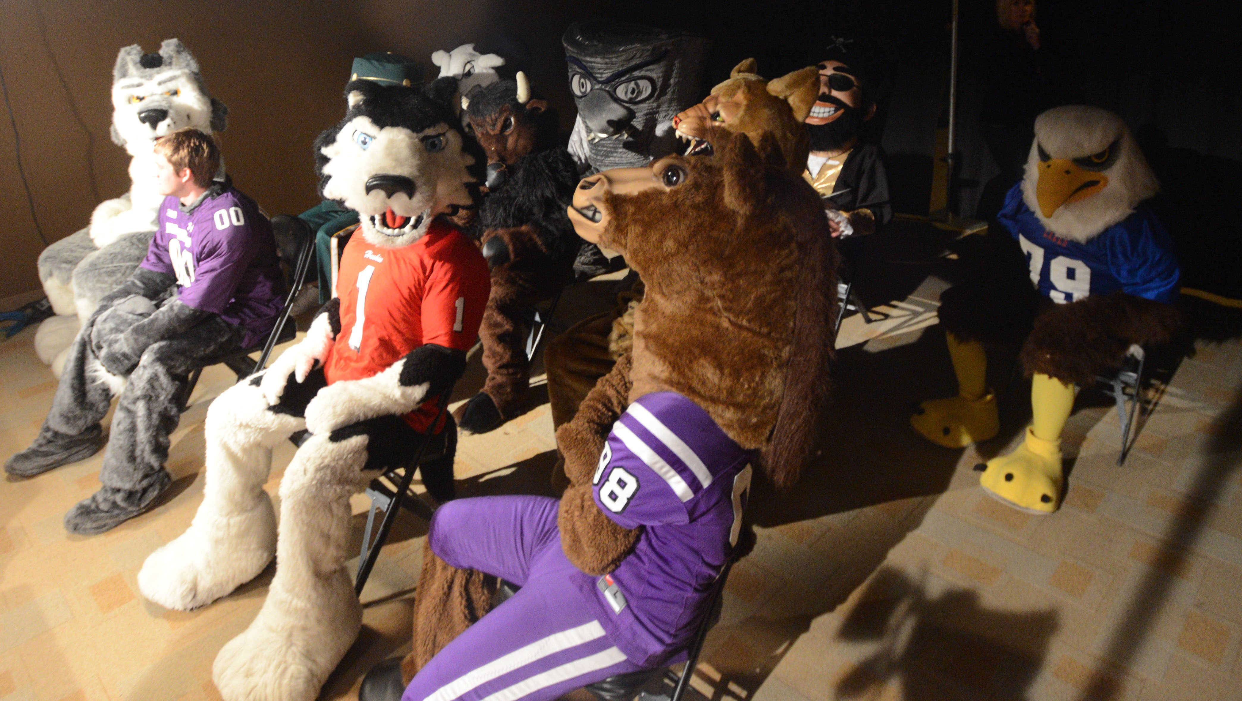 Local high school mascots sit together at the Daily Herald Prep Sports Excellence event at the Sears Centre in Hoffman Estates on Sunday afternoon.