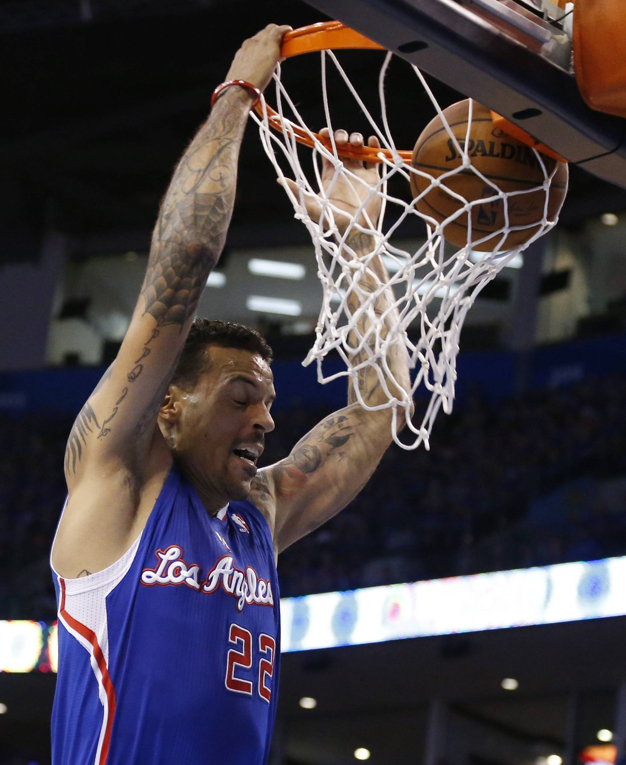 Los Angeles Clippers forward Matt Barnes dunks in the first quarter of Game 1 of the Western Conference semifinal NBA basketball playoff series against the Oklahoma City Thunder in Oklahoma City, Monday, May 5, 2014.