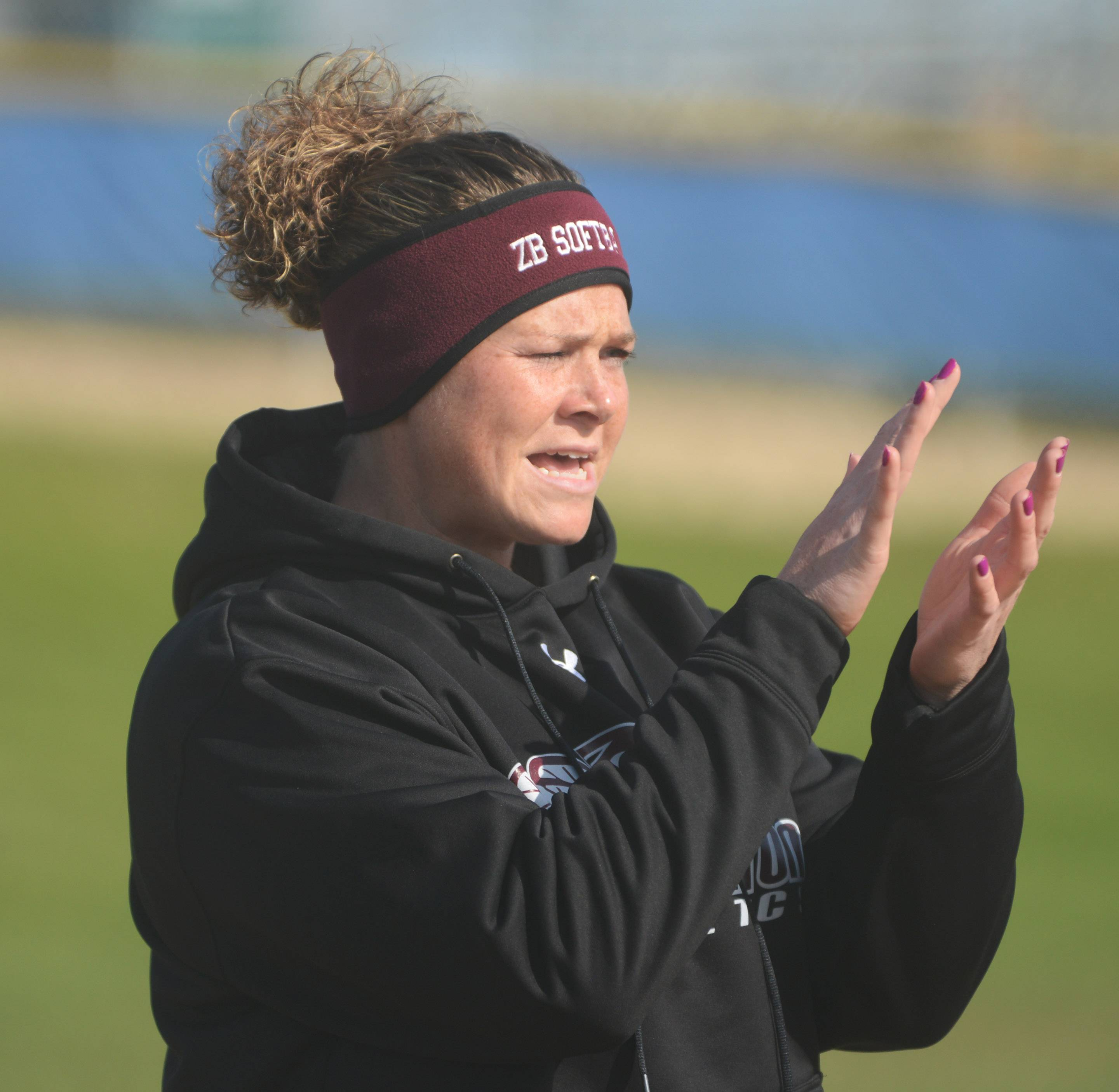 Zion-Benton coach Tina Meyer during Monday's game in Lake Zurich.