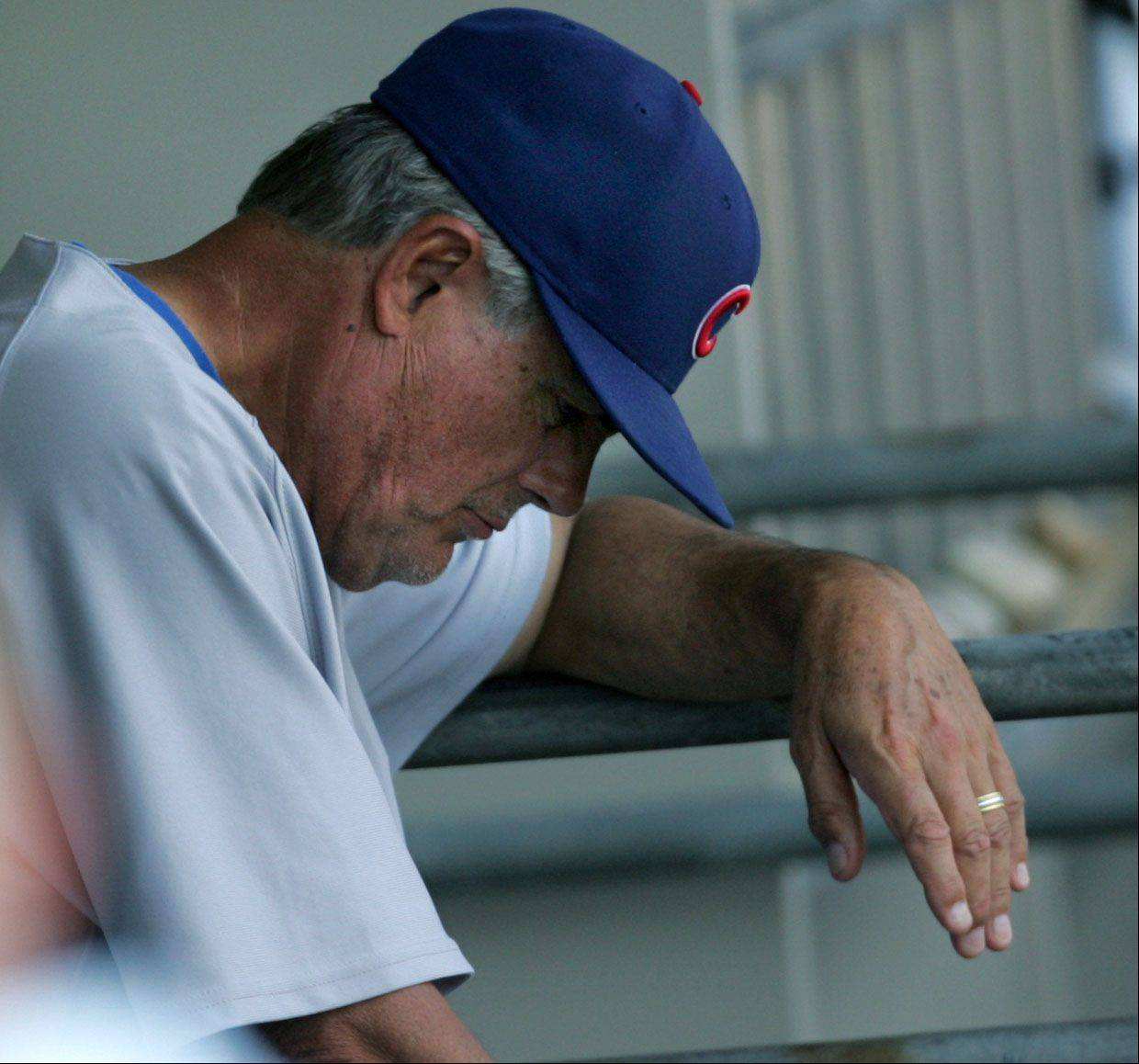 GEORGE LECLAIRE/2009Cubs Lou Piniella after two inning on Saturday against the White Sox on Saturday June 27th. Cubs lost 8-7.