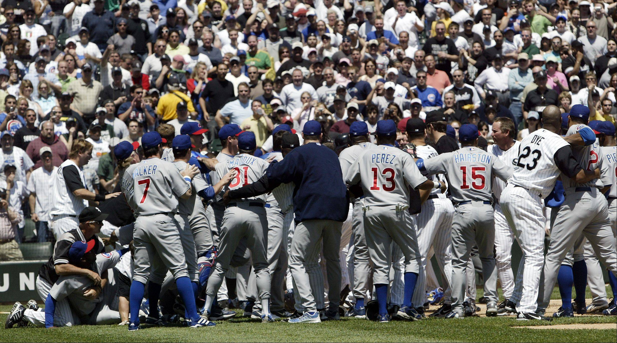 Cubs and Sox fight after Barrett and Pierzynski collide in game 2 on May 20, 2006.