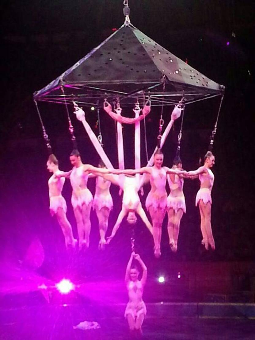 Performers hang during an aerial hair-hanging stunt at the Ringling Brothers and Barnum and Bailey Circus, Friday, May 2, 2014, in Providence, R.I. A platform collapsed during an aerial hair-hanging stunt at the 11 a.m. performance Sunday, May 4, sending eight acrobats plummeting to the ground.