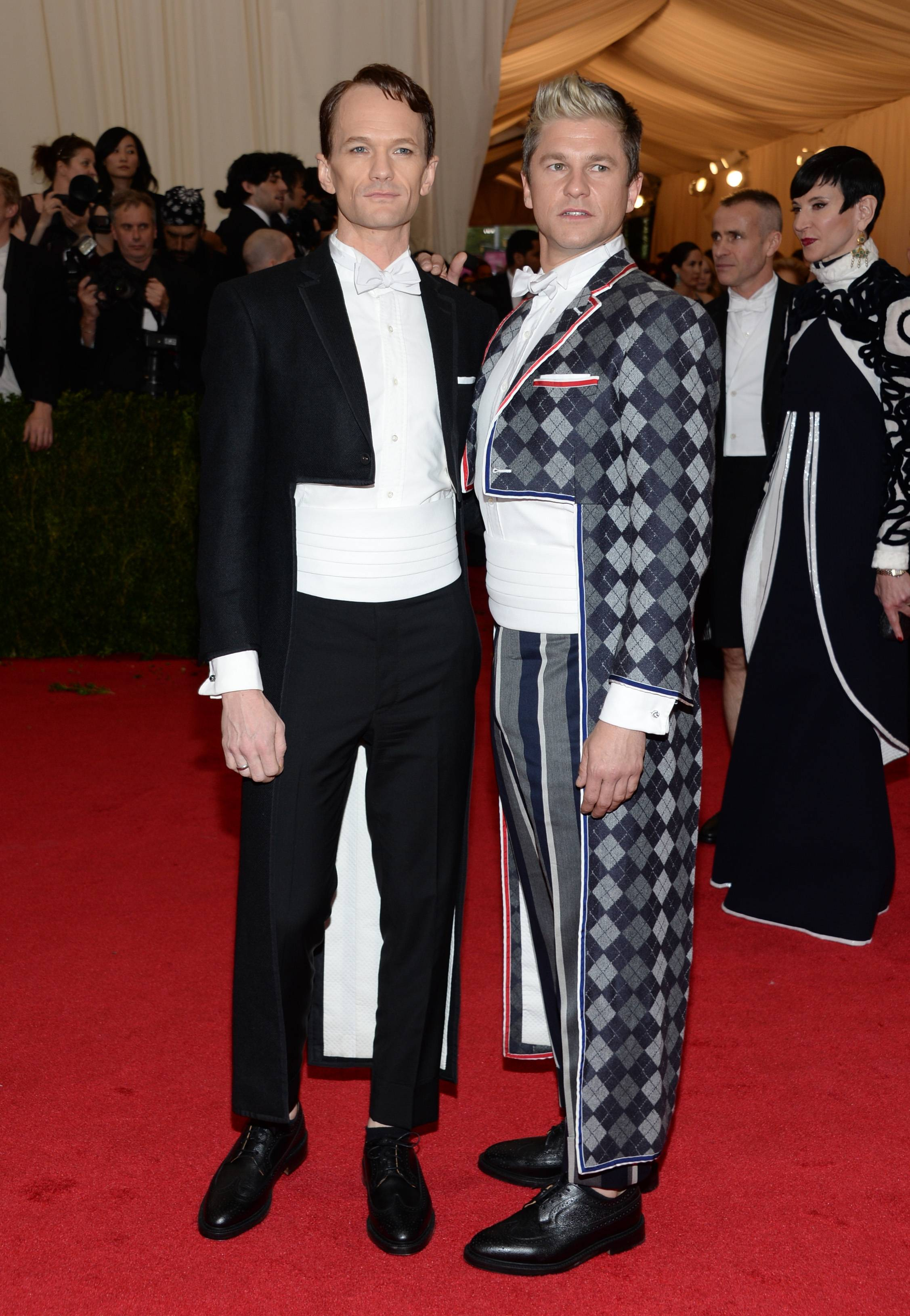 Neil Patrick Harris, left, and David Burtka attend The Metropolitan Museum of Art's Costume Institute benefit gala Monday.
