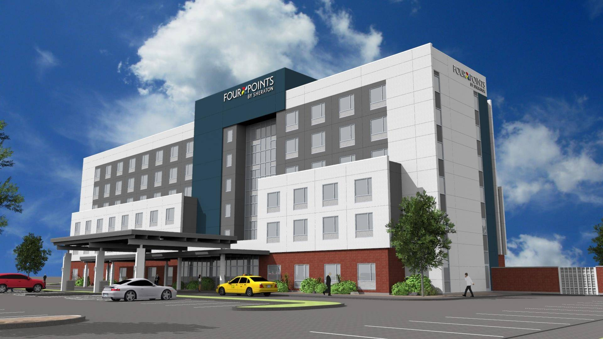 Rendering of the proposed Four Points by Sheraton Hotel, which will have 161 rooms at the Arlington Downs site in Arlington Heights.
