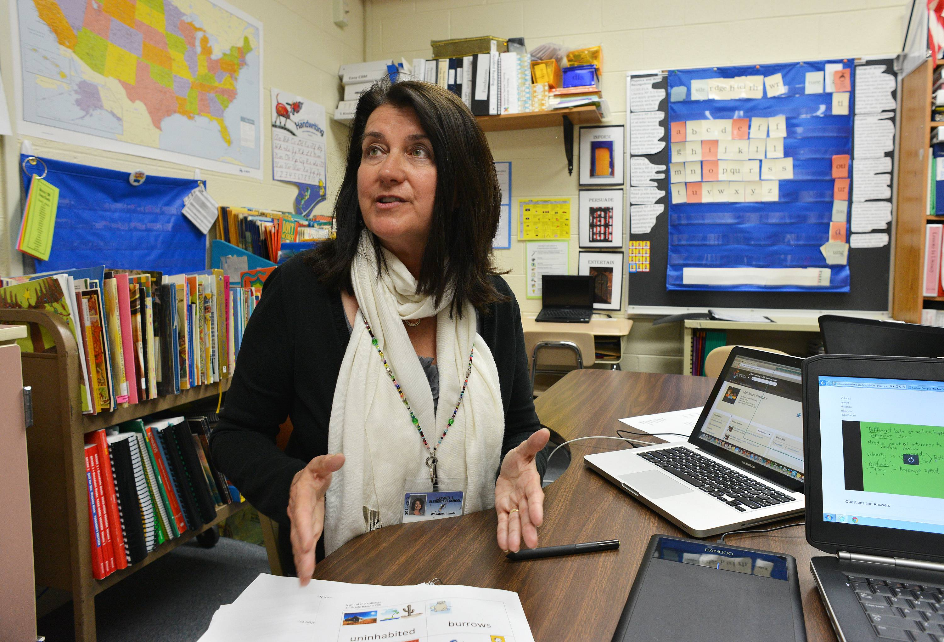 Lowell Elementary School teacher Carmen MacDonald describes how she makes videos of her lessons that students can review from home.