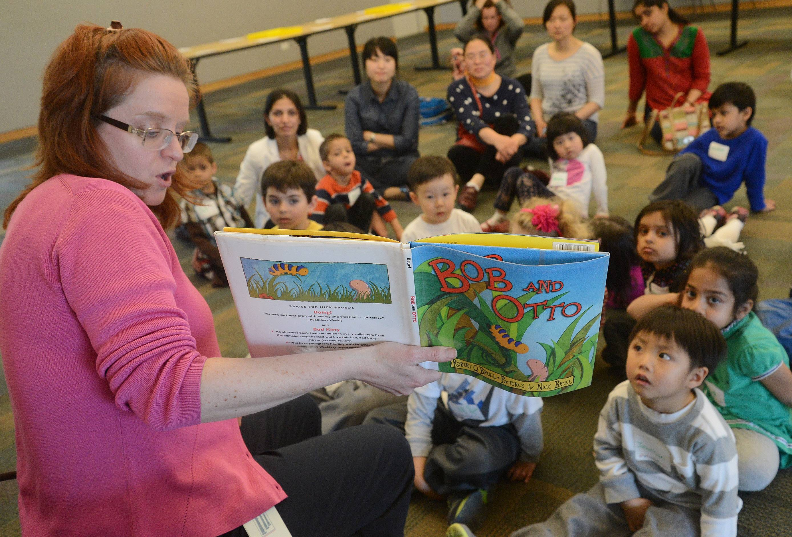 "Youth services librarian Lisa Coleman reads from a book called ""Bob and Otto,"" during the Vernon Area Public Library's Preschool Science Detectives program Tuesday."