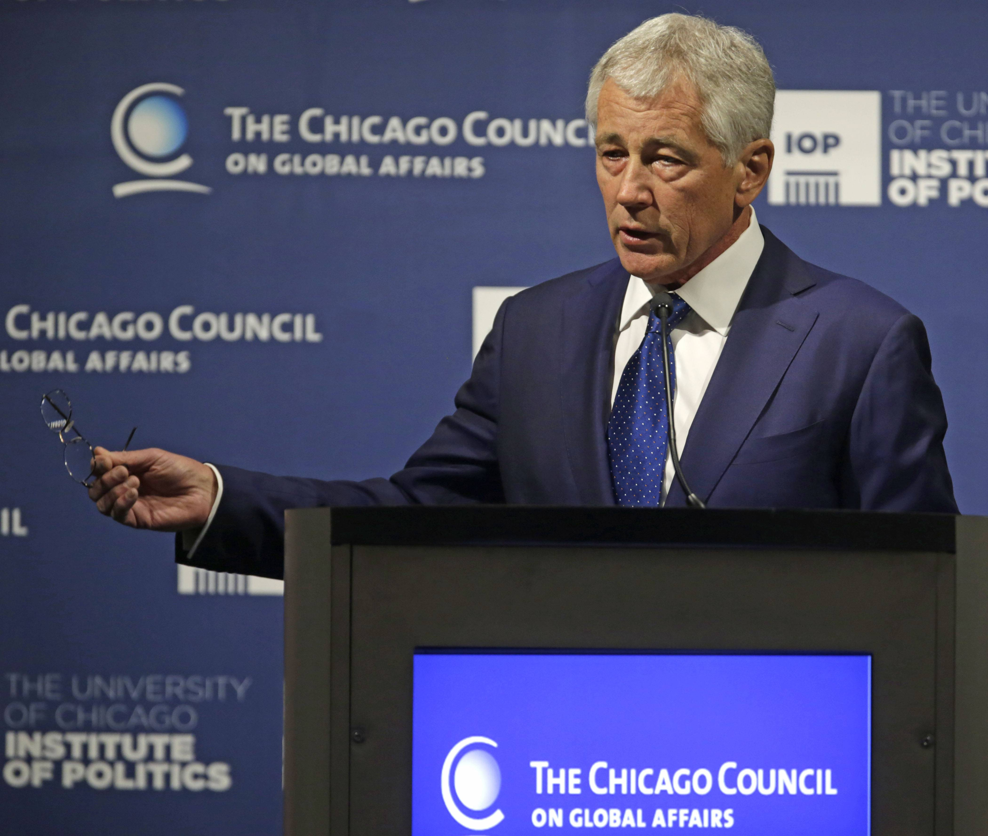 Secretary of Defense Chuck Hagel speaks during an event hosted by The Chicago Council on Global Affairs Tuesday.