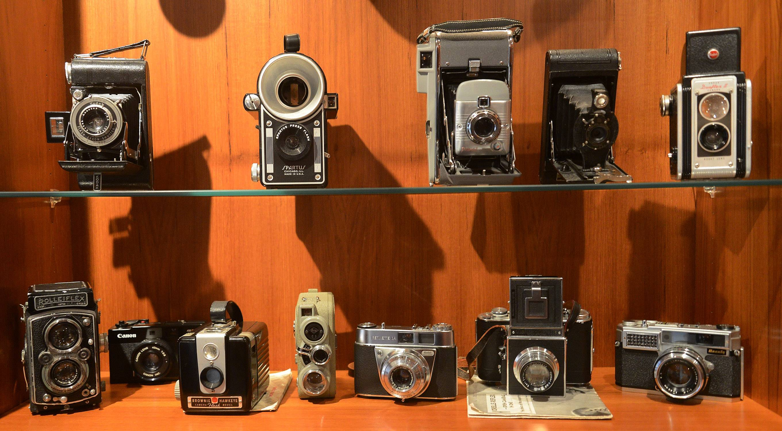 Deerfield photographer Bruce Mondschain's antique camera collection.