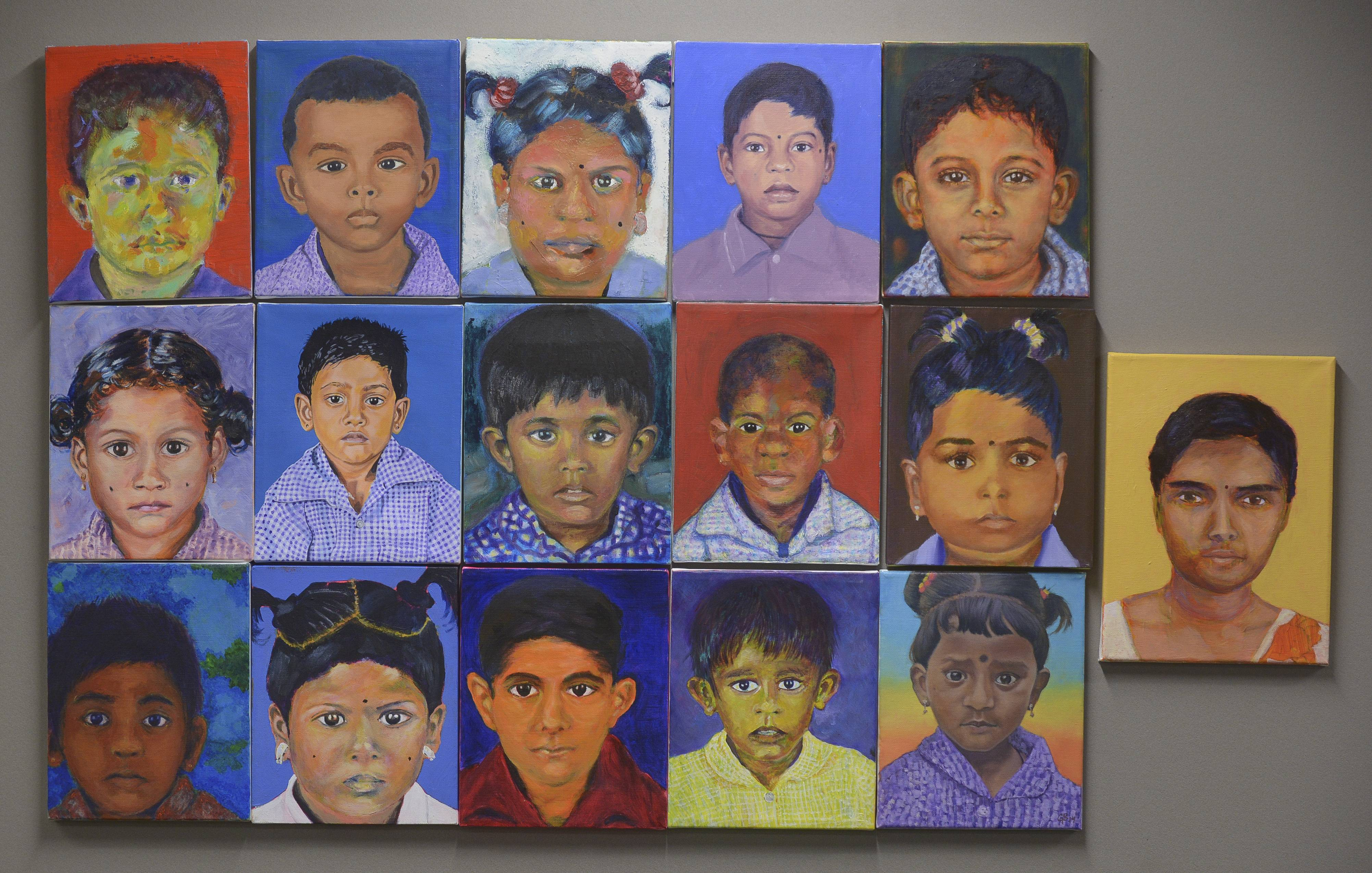 Portraits of Sri Lankan children created by Jennifer Hereth's painting students at College of DuPage.