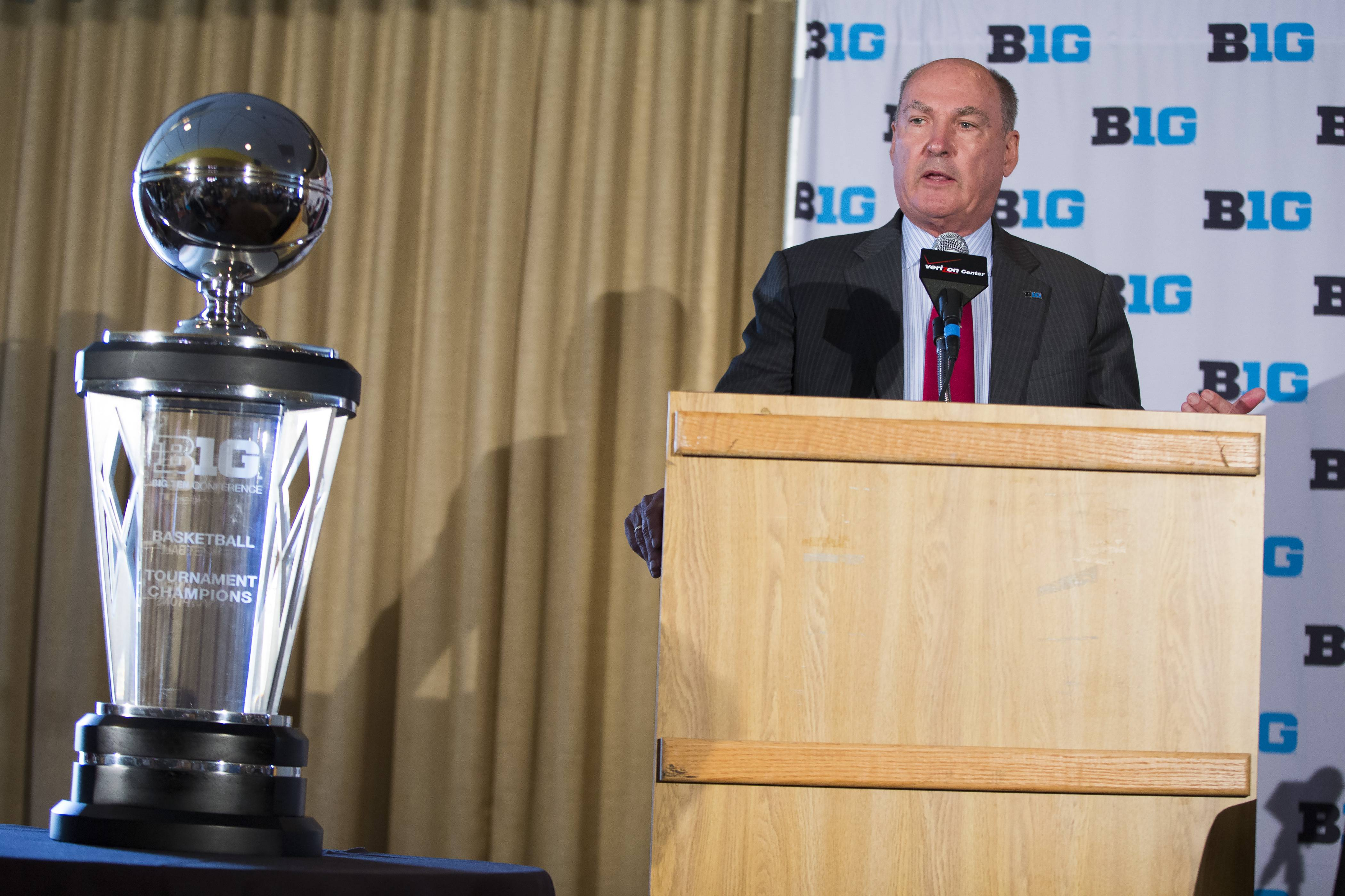 Big Ten commissioner Jim Delany speaks during a news conference at Verizon Center, on Tuesday, May 6, 2014, in Washington. Delany announced that the 2017 Big Ten conference men's basketball tournament will be held in Washington.