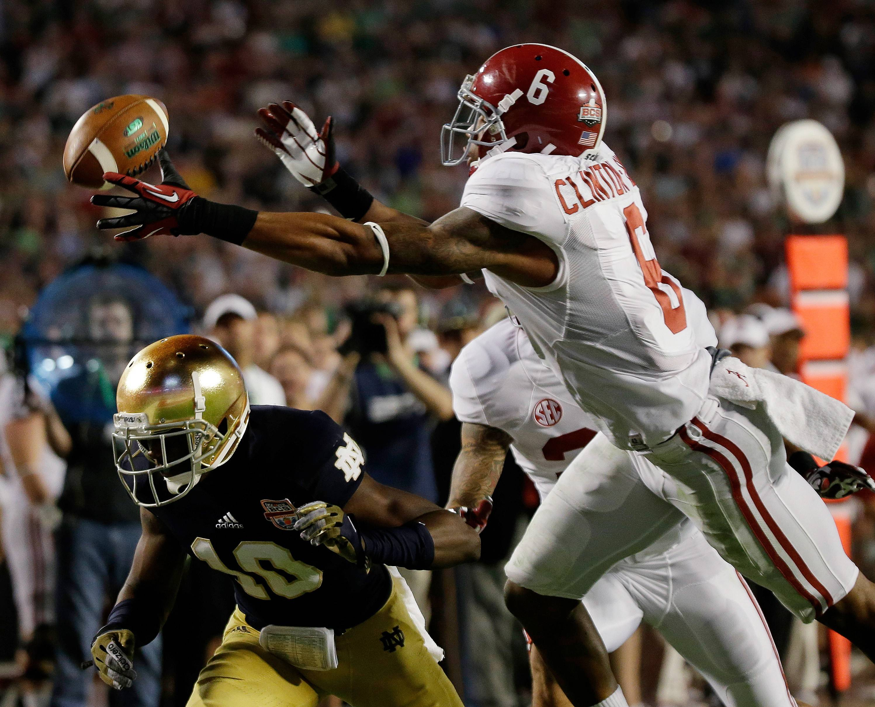 Alabama's Ha'Sean Clinton-Dix (6) intercepts a pass over Notre Dame's DaVaris Daniels (10) during the second half of the BCS National Championship college football game Monday, Jan. 7, 2013. Clinton-Dix is one of only a handful of impact safties available in this year's draft.