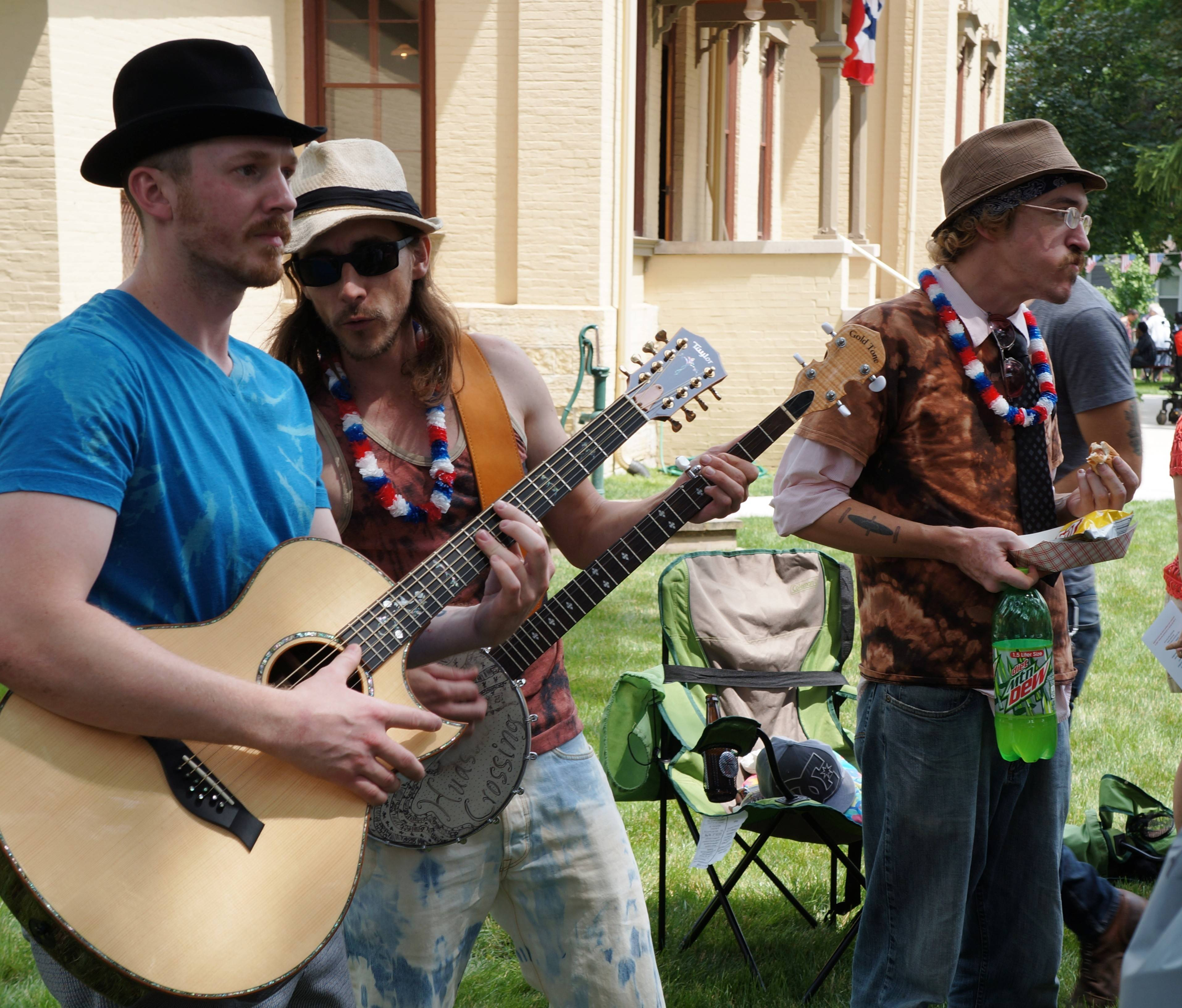 Nate DeMont, Mike Brolin and Rob Gryder of Hudson Crossing perform at the Tanner House last Fourth of July. The group will play at the opening day of the historic museum on Sunday, May 11.