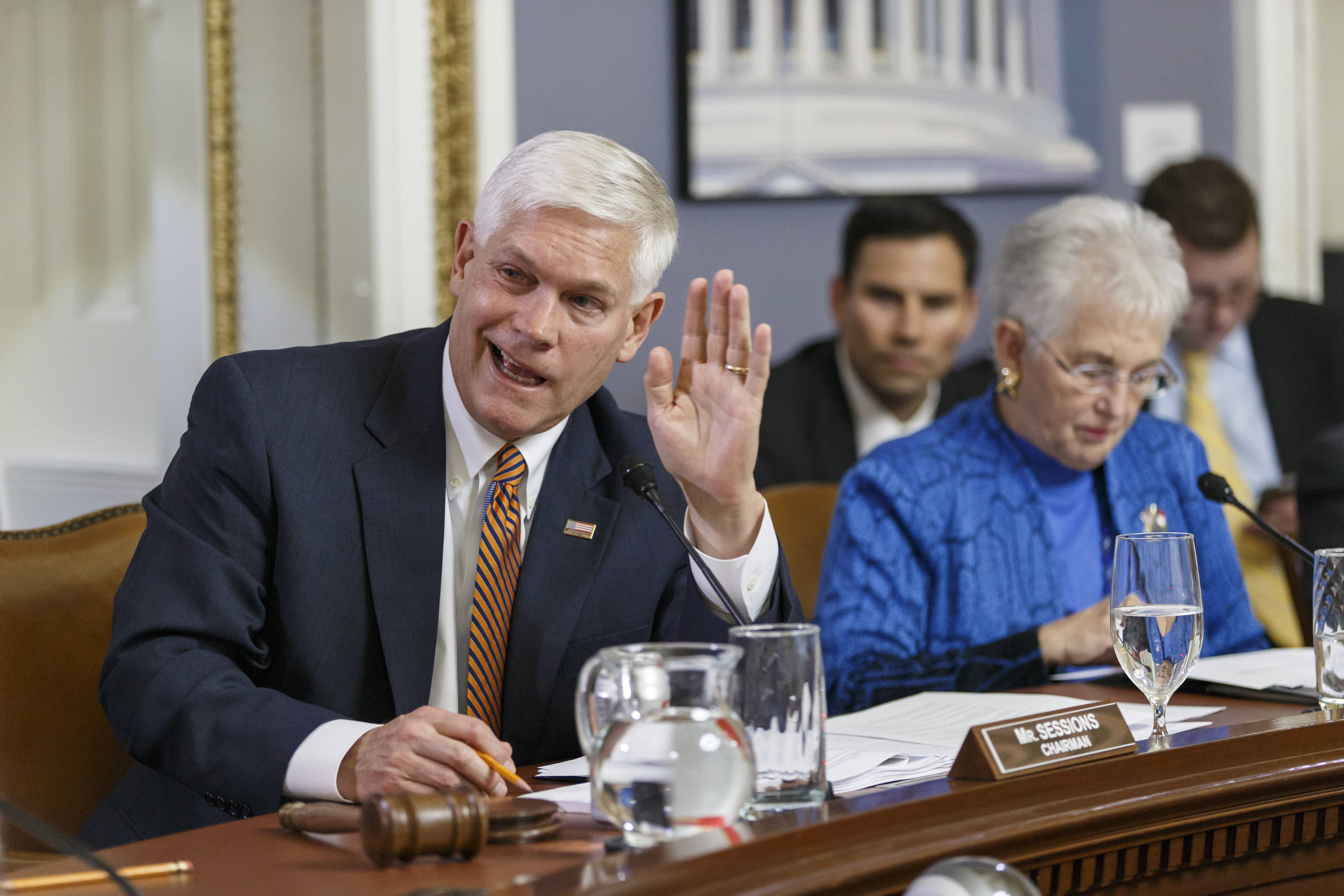 House Rules Committee Chairman Pete Sessions, a Texas Republican, joined at right by Rep. Virginia Foxx, a North Carolina Republican, responds to a point from Democrats on the panel as lawmakers work on the creation of a special select committee to investigate the 2012 attack on the U.S. diplomatic outpost in Benghazi, Libya.