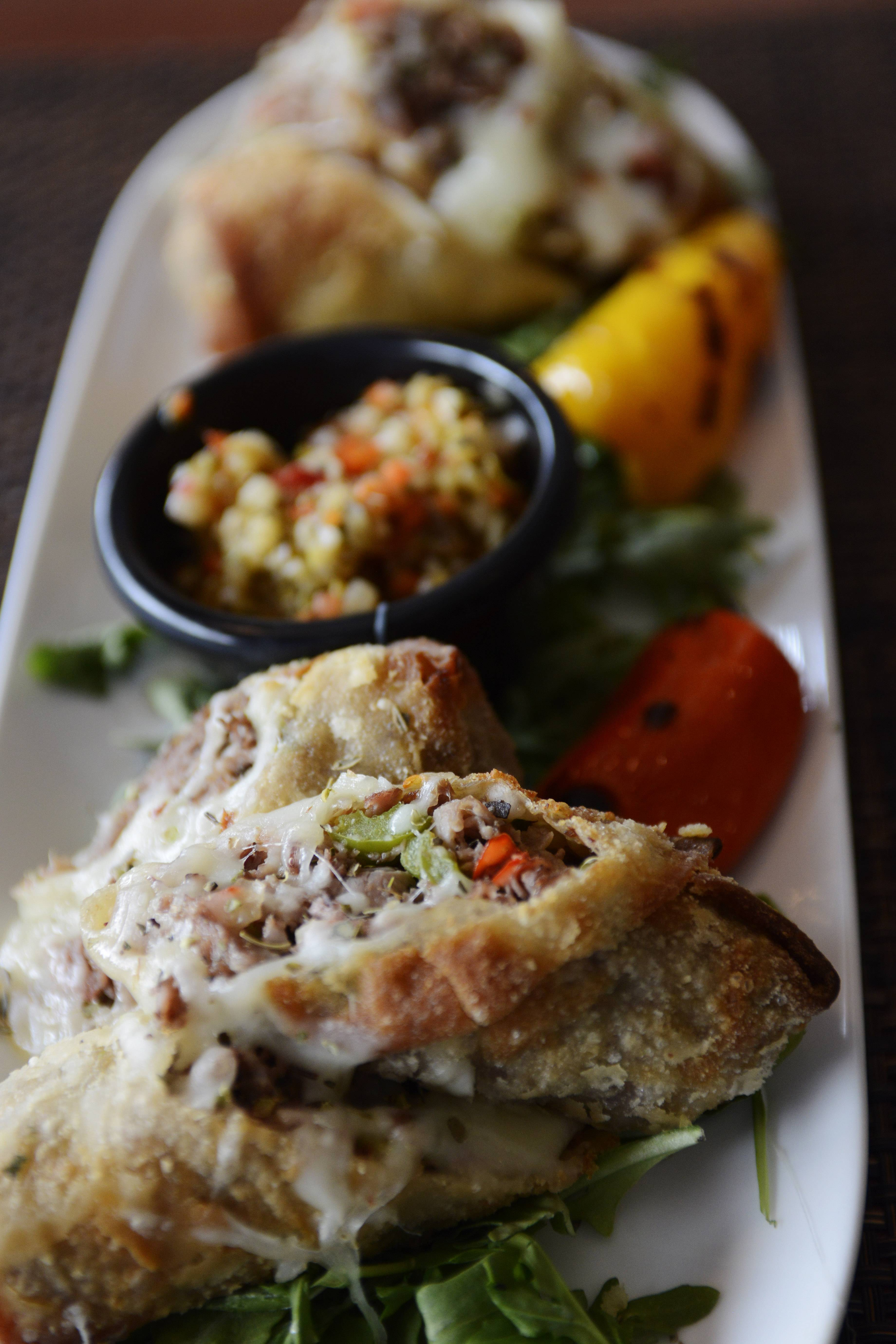 Italian beef and gardineria are stuffed onto the Cheesy Beef Egg Rolls at Zeal in Schaumburg.