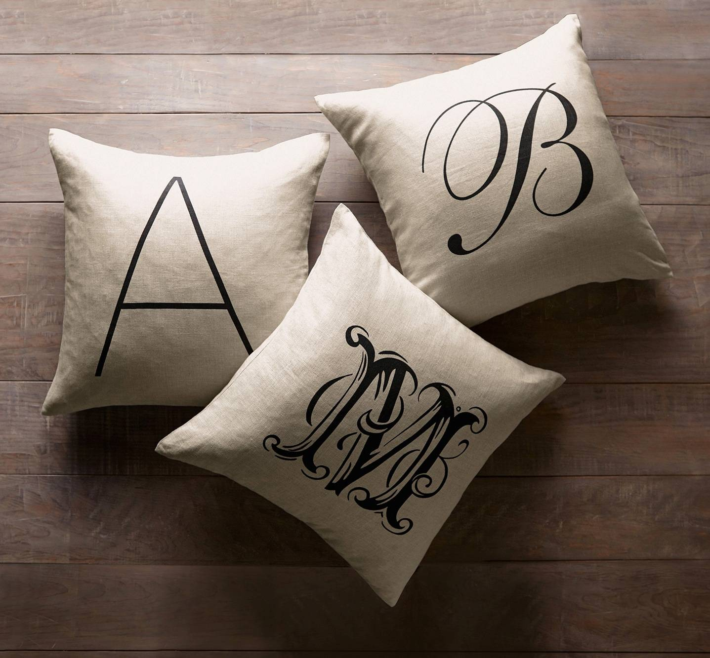 Pottery Barn sells personalized alphabet pillow covers -- a perfect gift for Mom.