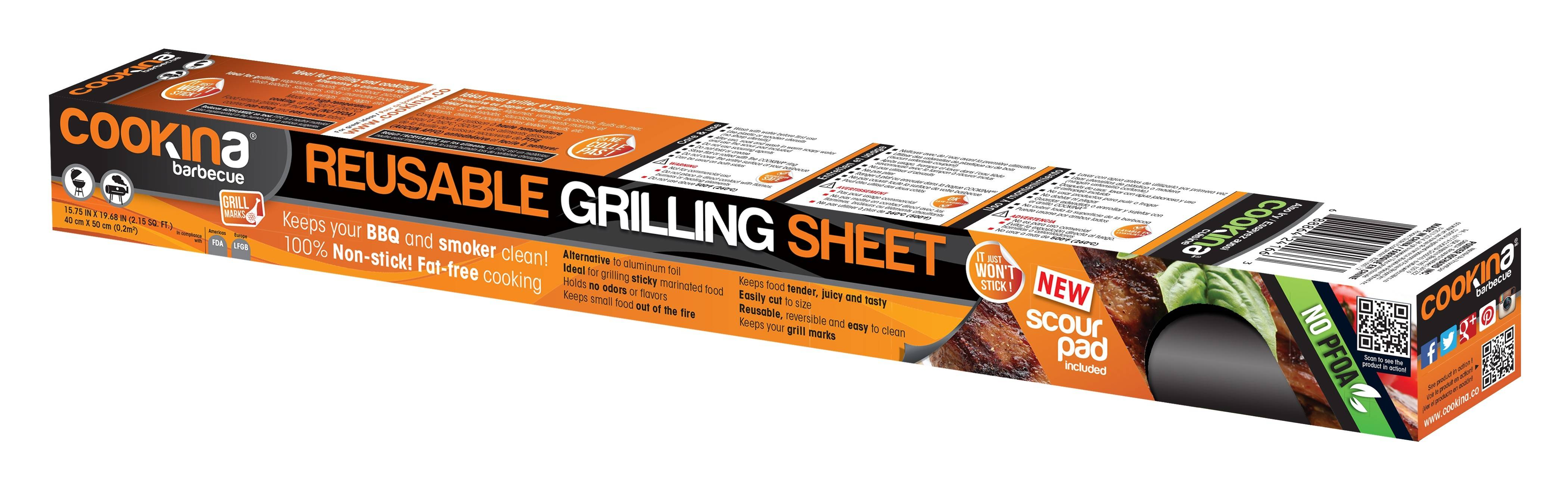 Cookina's Barbecue Grilling Sheet has a nonstick surface that eliminates the need for aluminum foil.