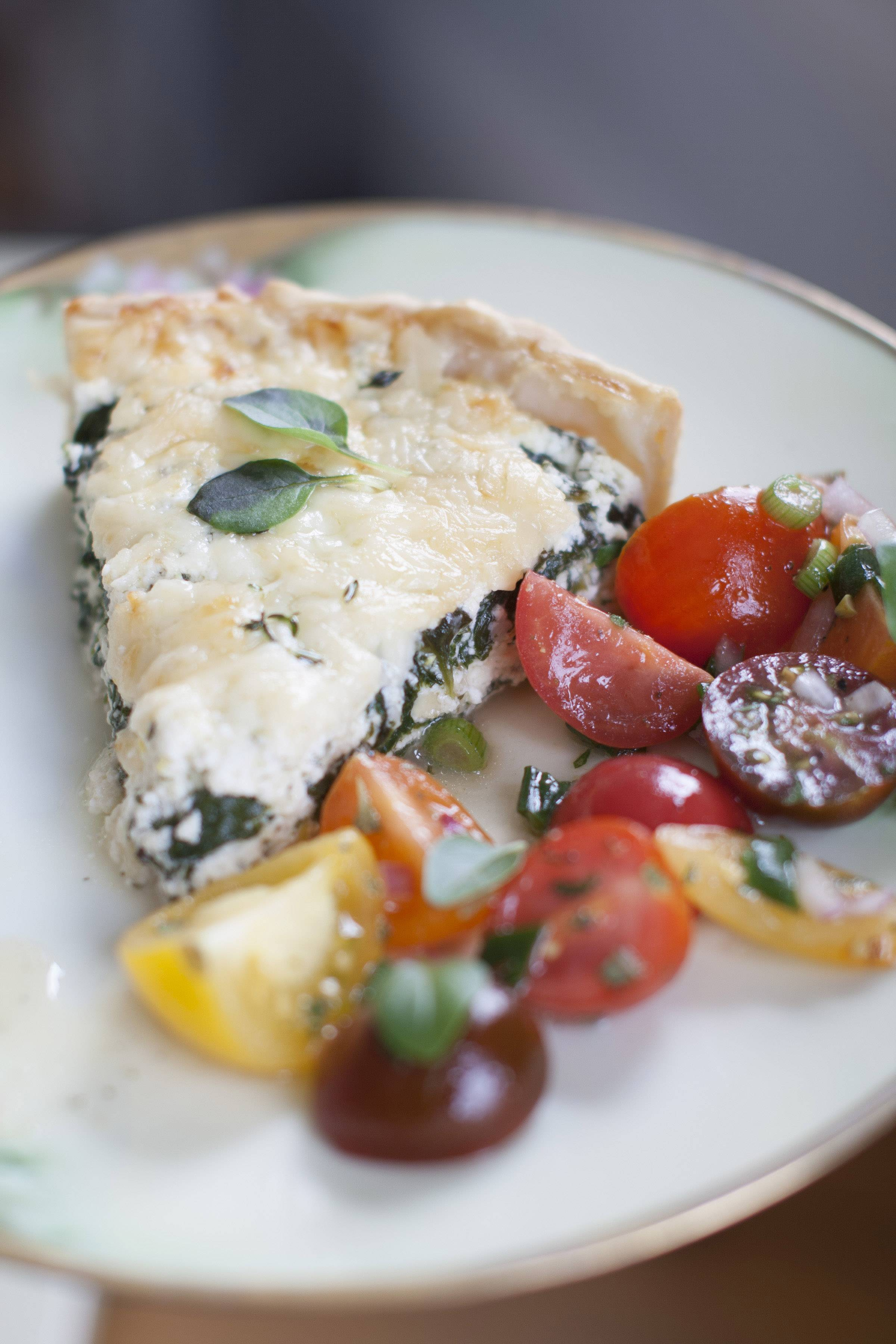 This Ricotta Spinach Tart pairs lasagna ingredients with eggs in a quiche-like form.