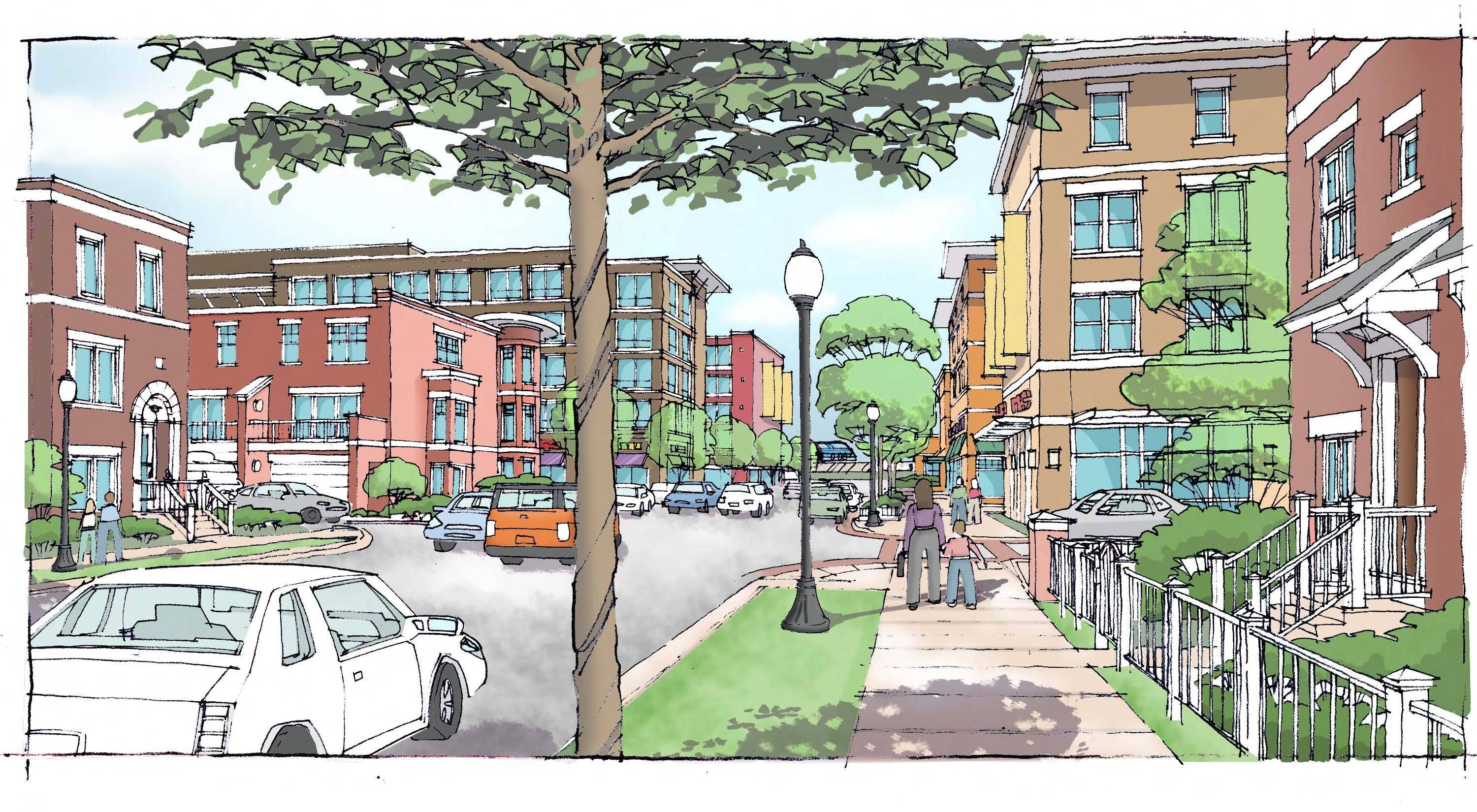 Renderings of proposed redevelopment in the Hickory Kensington area in Arlington Heights.